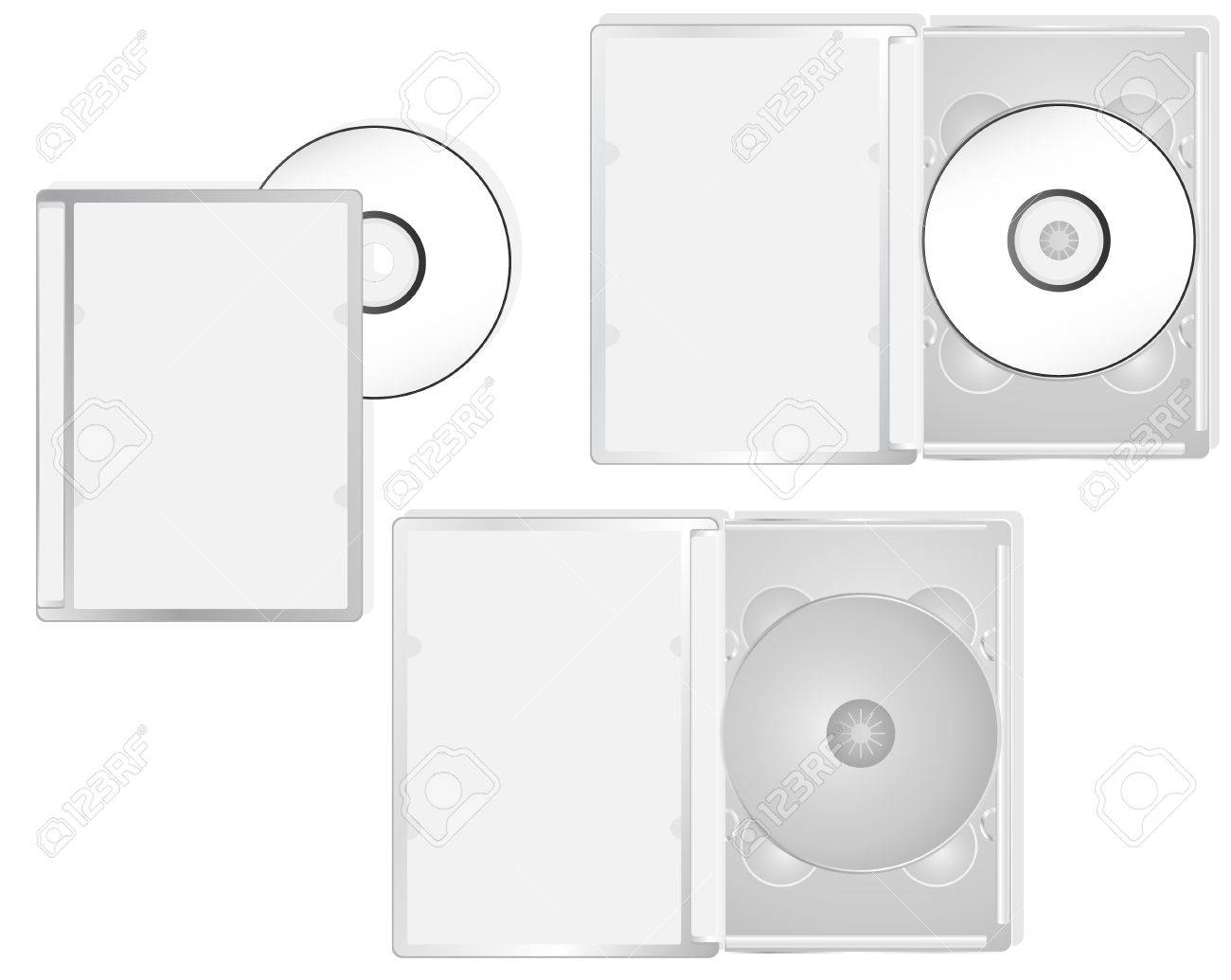 DVD and its boxes into different positions. Ideal for packaging purposes. Linear and radial gradients Stock Vector - 5801144