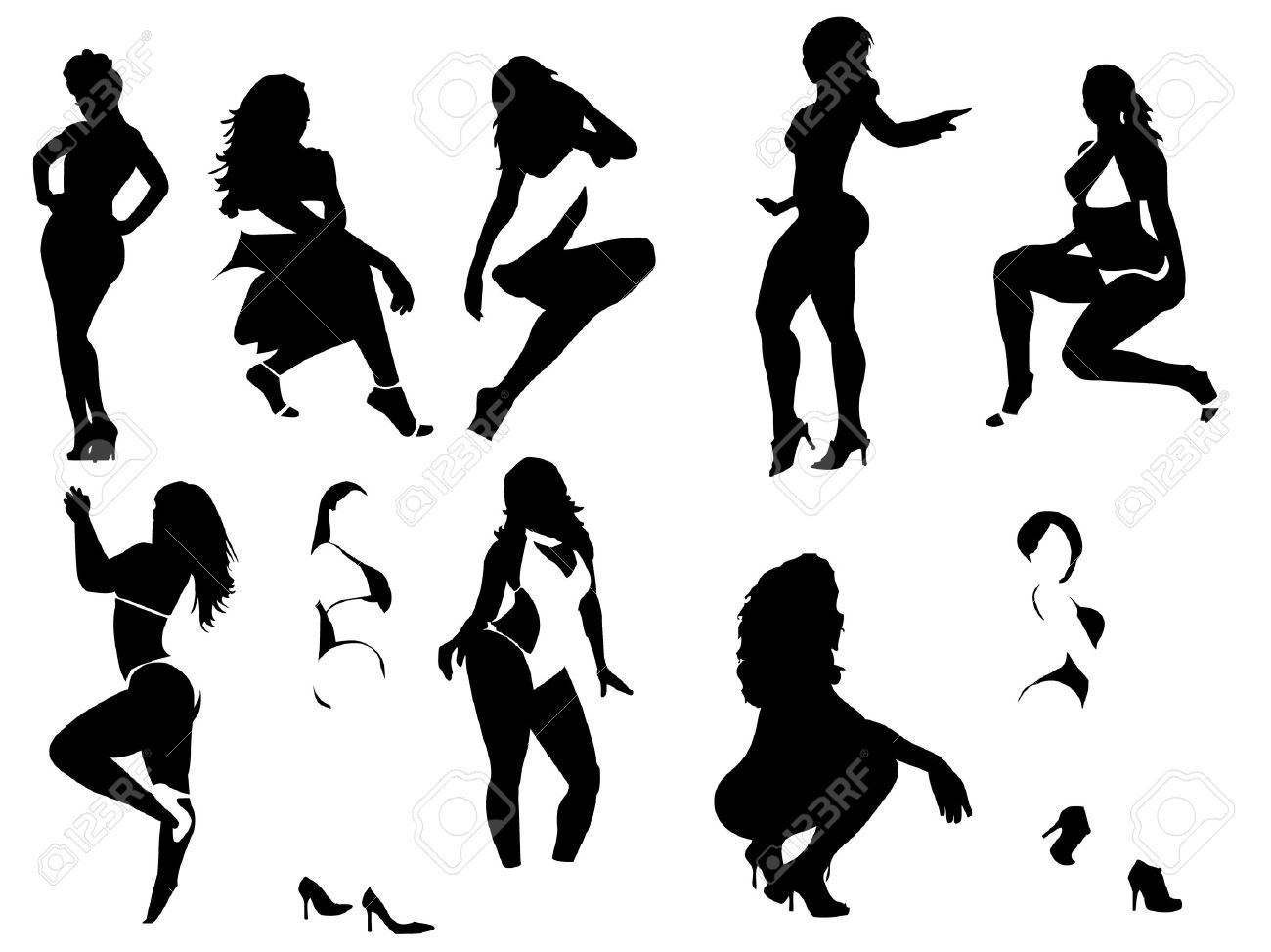 Silhouettes of several sexy women posing with explicit and suggestives expressions. Stock Vector - 5801141