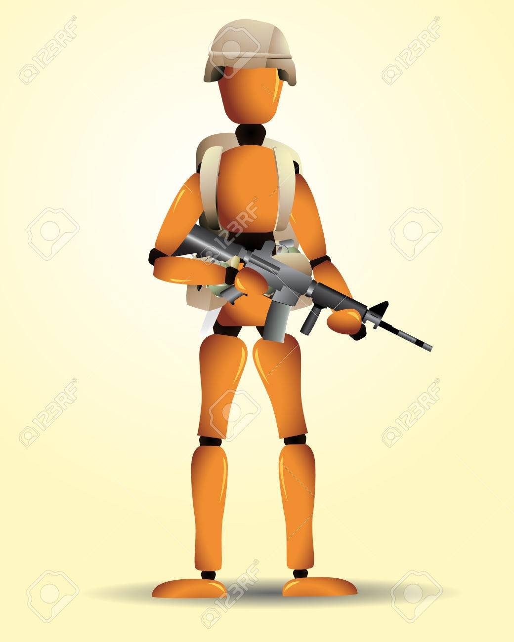 A wooden soldier with different weapons, an helmet and a backpack. Linear and radial gradients used. Eps8. Stock Vector - 5801148
