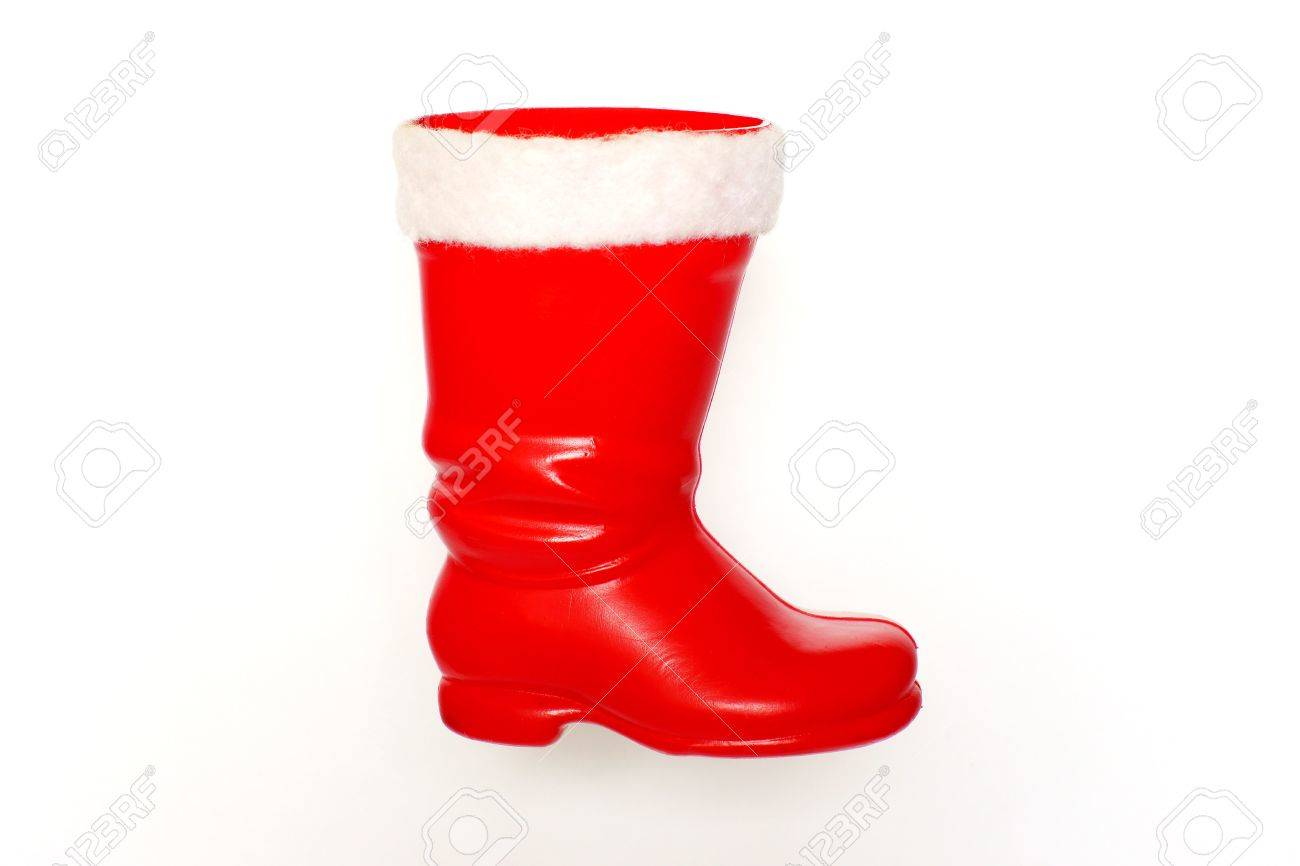 Red Boots For Christmas Gifts From Santa Claus, Isolated On A ...