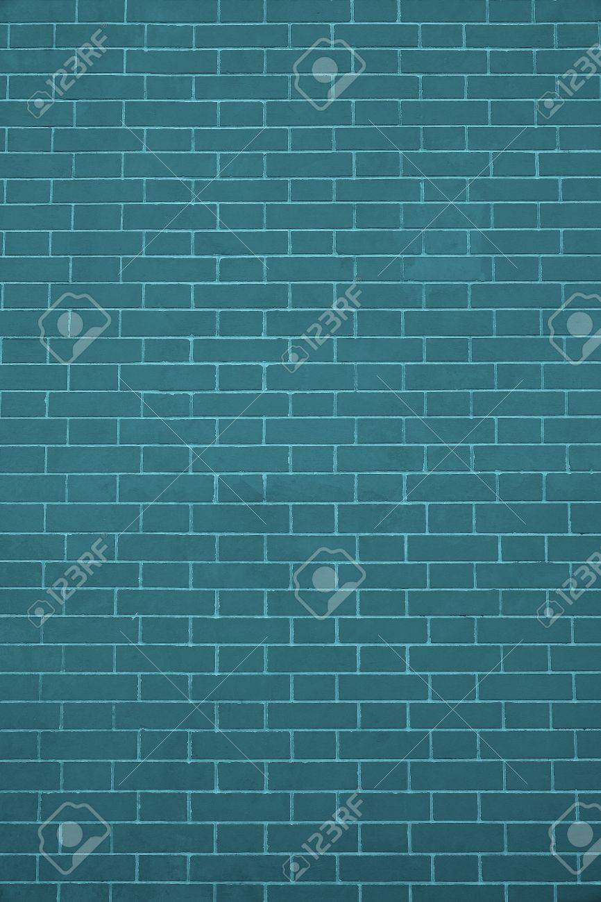 Abstract Texture Of A New Brick Wall Dark Turquoise Color For