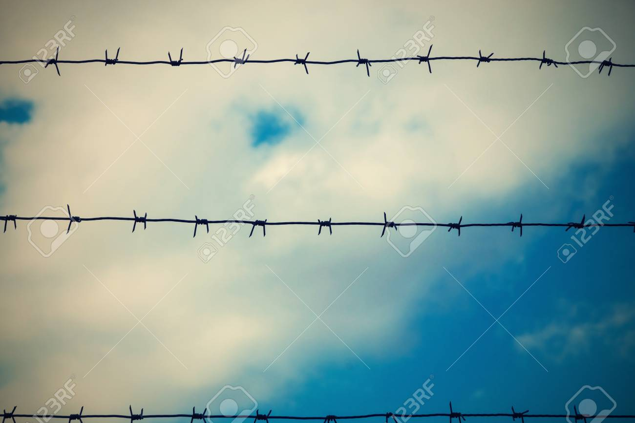 Design From A Barbed Wire Against The Cloudy Sky For A Protection ...