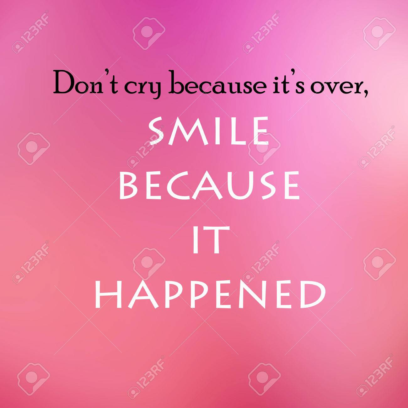 Vintage Motivational Quote Poster Dont Cry Because Its Over