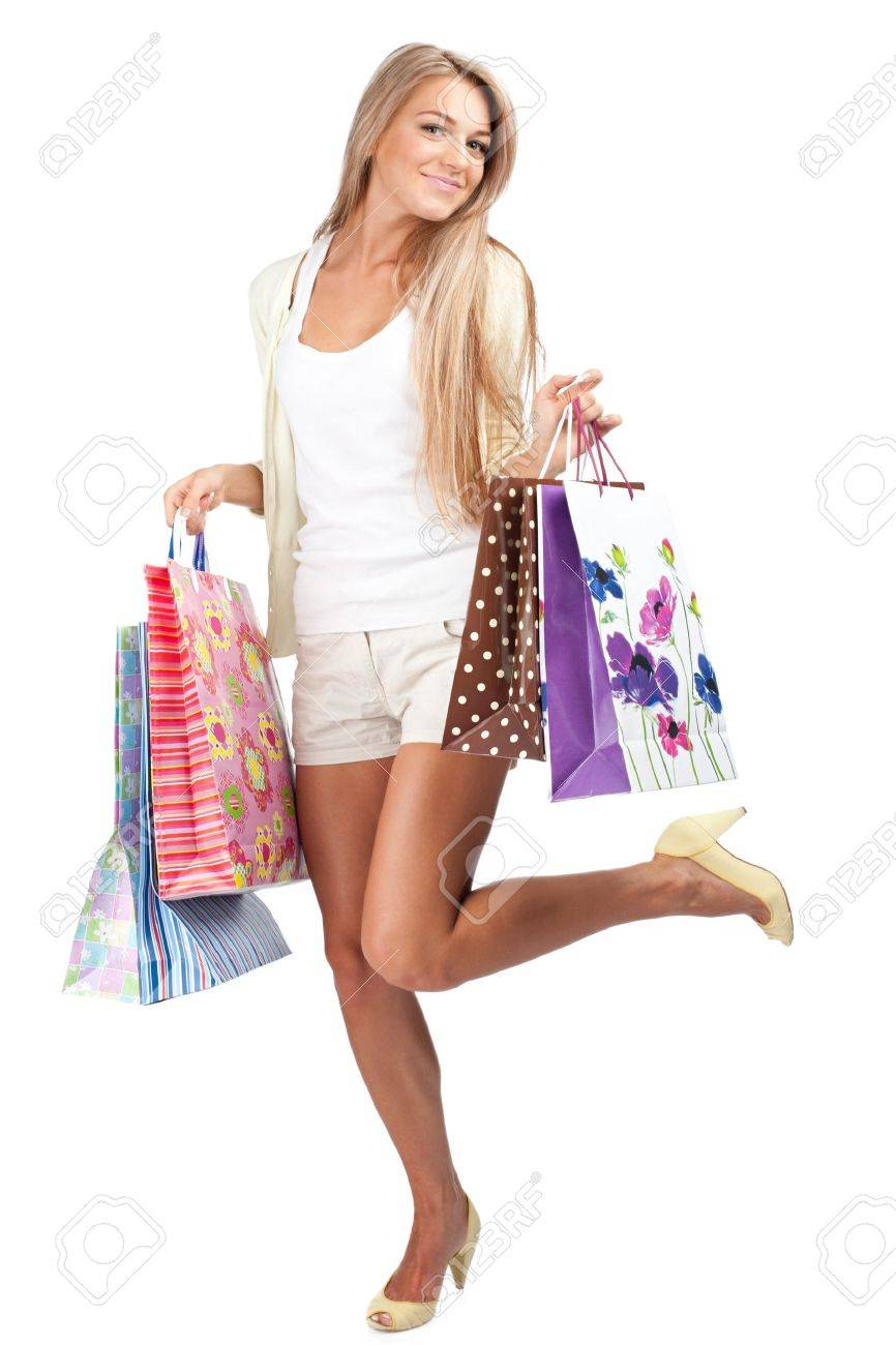Happy Beautiful Woman With Colorful Shopping Bags In Her Hands ...