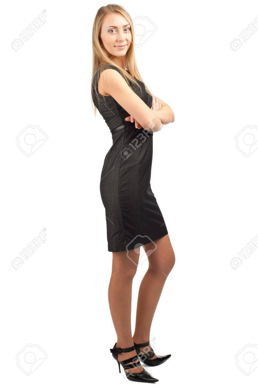 Full length portrait of confident businesswoman with crossed arms smiling, isolated on white background Stock Photo - 10855985