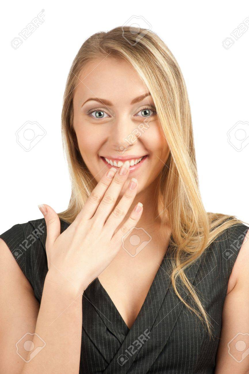 Portrait of surprised attractive businesswoman covering her mouth by the hands, over white background Stock Photo - 10856128