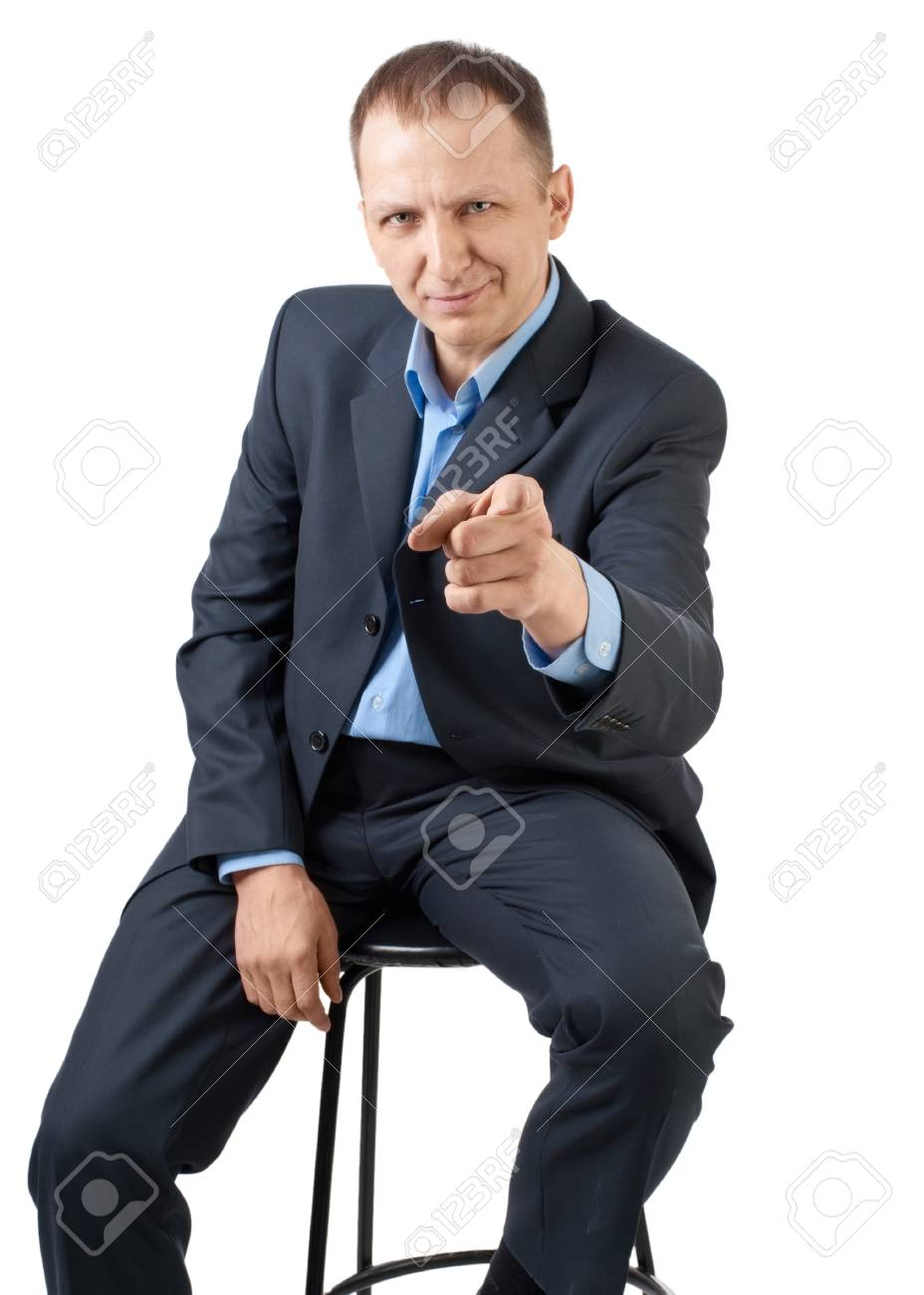 Handsome businessman pointing at viewer, isolated on white Stock Photo - 10947530