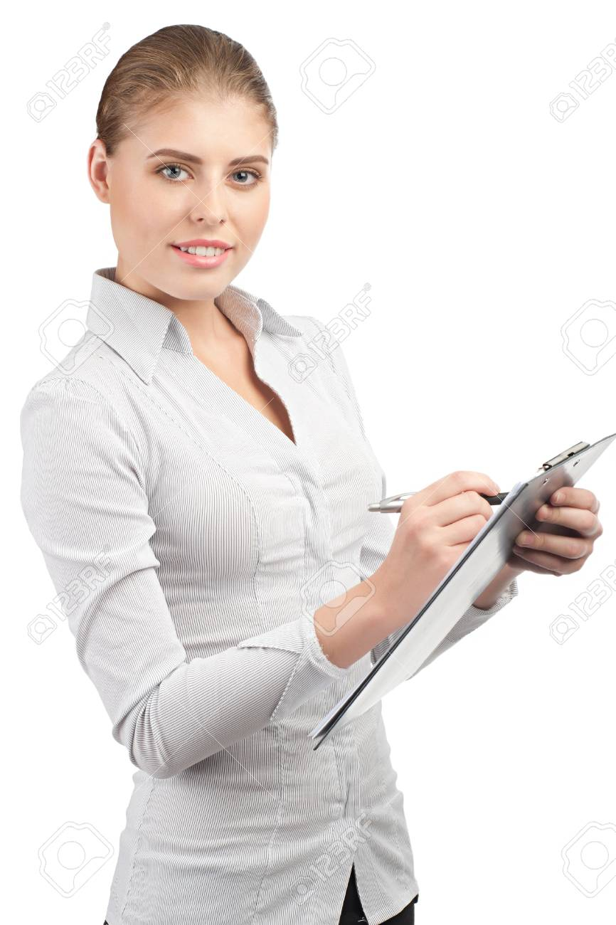 Young attractive business woman writing on clipboard, isolated on white background Stock Photo - 10947807