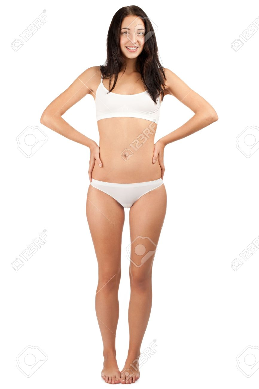 Full length portrait of young beautiful woman in white underwear with  perfect slim body. Isolated f74cf1f81