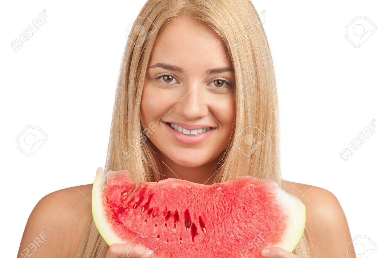 Young beautiful woman with slice of fresh watermelon Stock Photo - 10947980