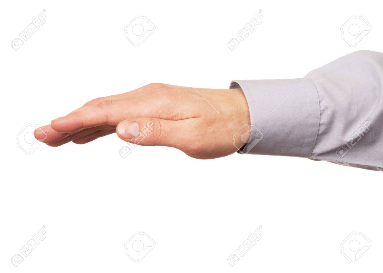 Hand gesture of male hand, isolated against white background Stock Photo - 12794746