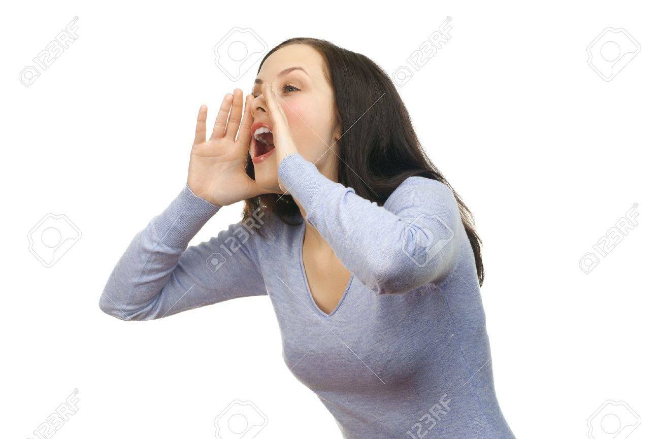 Portrait of a young lovely woman screaming out loud, isolated on a white background Stock Photo - 13644944