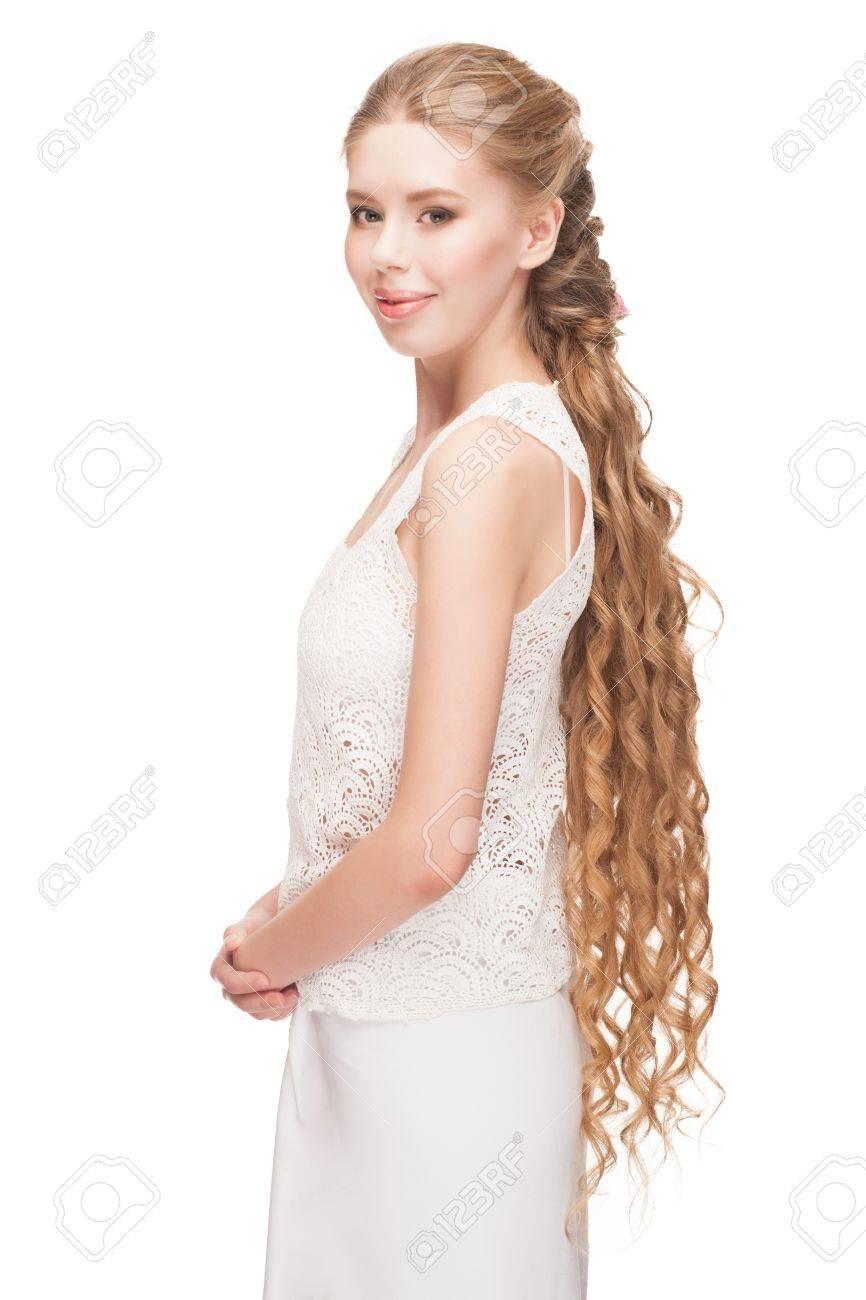 Blond Hair. Beautiful Caucasian Woman With Curly Long Hair. Bridal ...