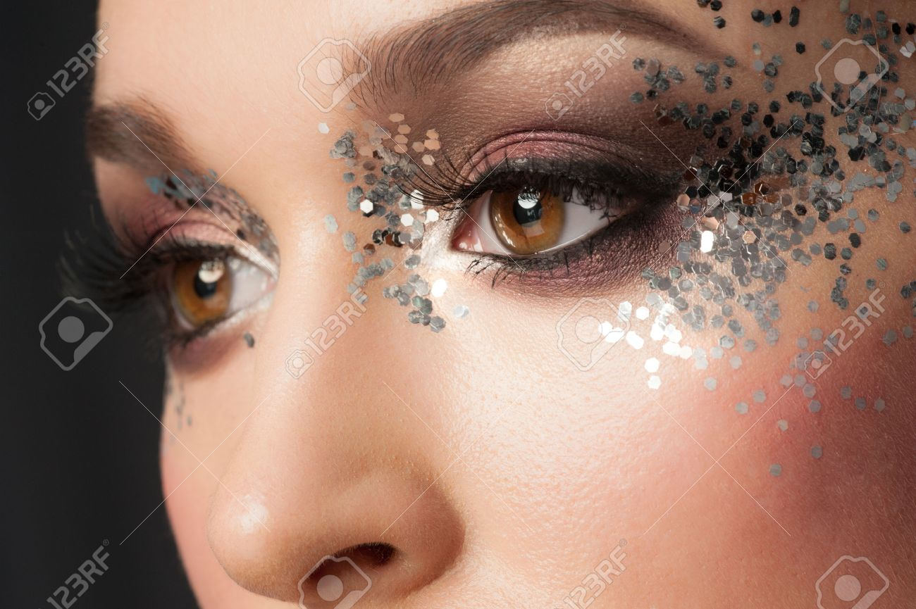 Eye Makeup Closeup Of Beautiful Woman Eye With Glitter Makeup