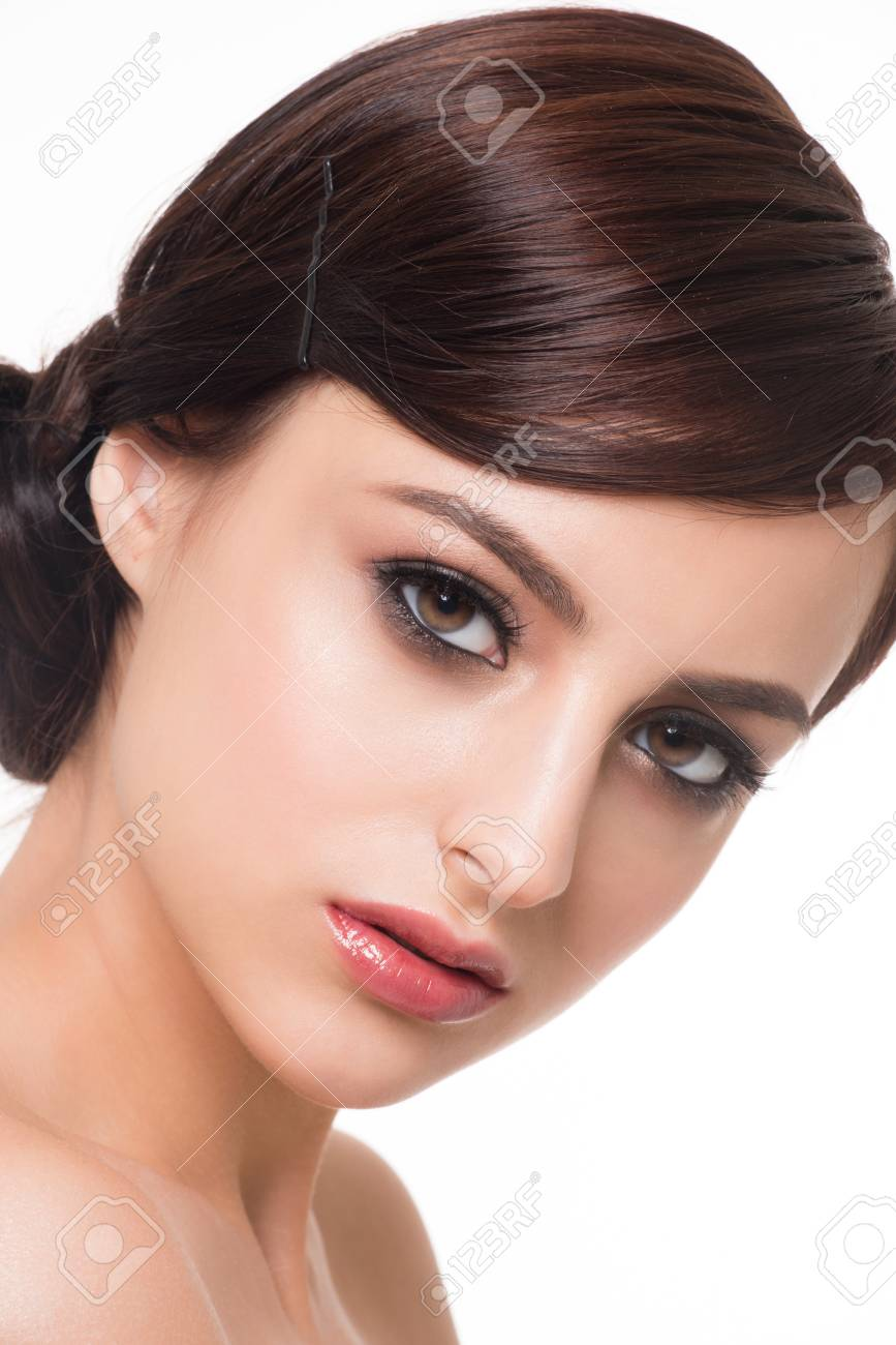 Portrait Of Young Beautiful Woman With Fashion Makeup Makeup