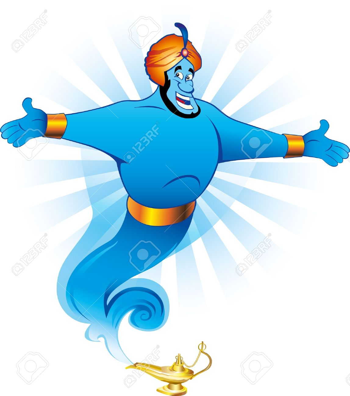 Illustration of Magic Genie Appear from Magic Lamp. - 18990083
