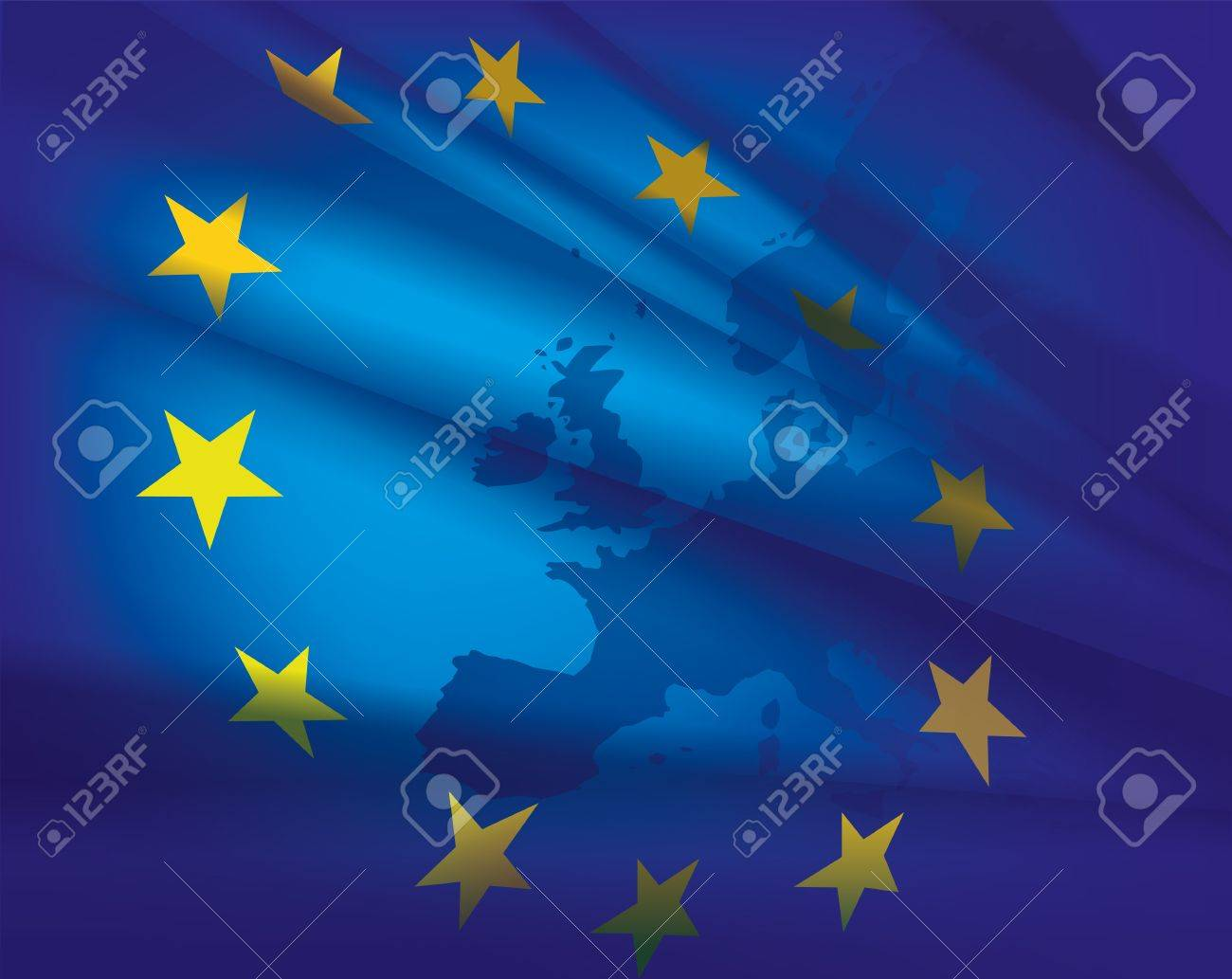 Europe map and flag - beautiful abstract blue collage background - 18990078