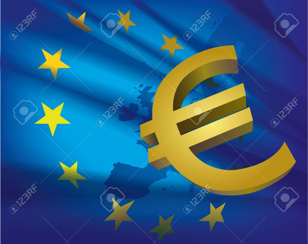 Europe map and flag and euro - beautiful abstract blue collage background - 19140851