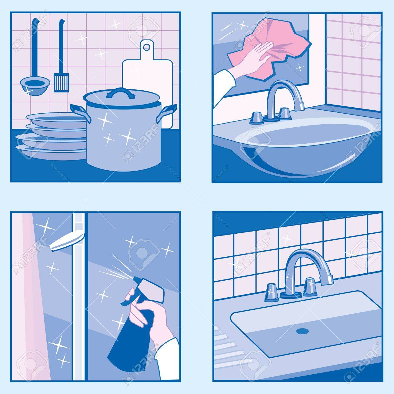 A set of vector illustrations of House Cleaning in blue colors - 22025578