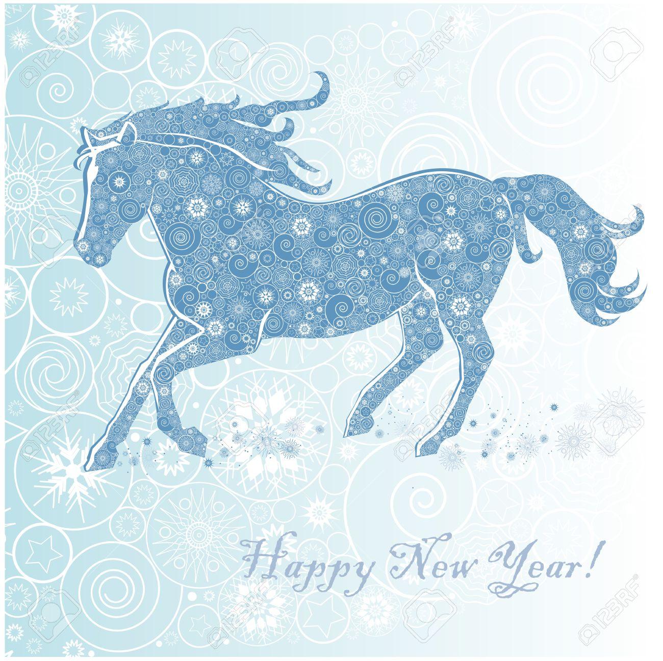 Frohe Weihnachten Pferd.Stock Photo