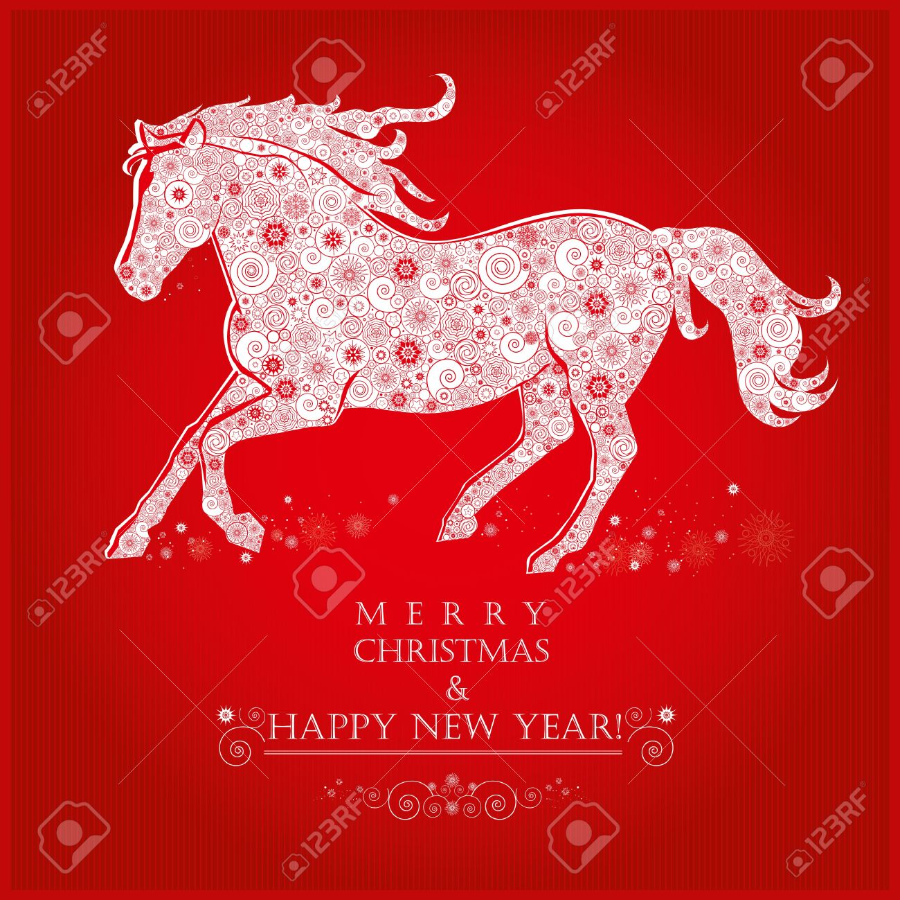 Running horse on bright red background merry christmas and happy running horse on bright red background merry christmas and happy new year greeting card stock vector voltagebd Image collections