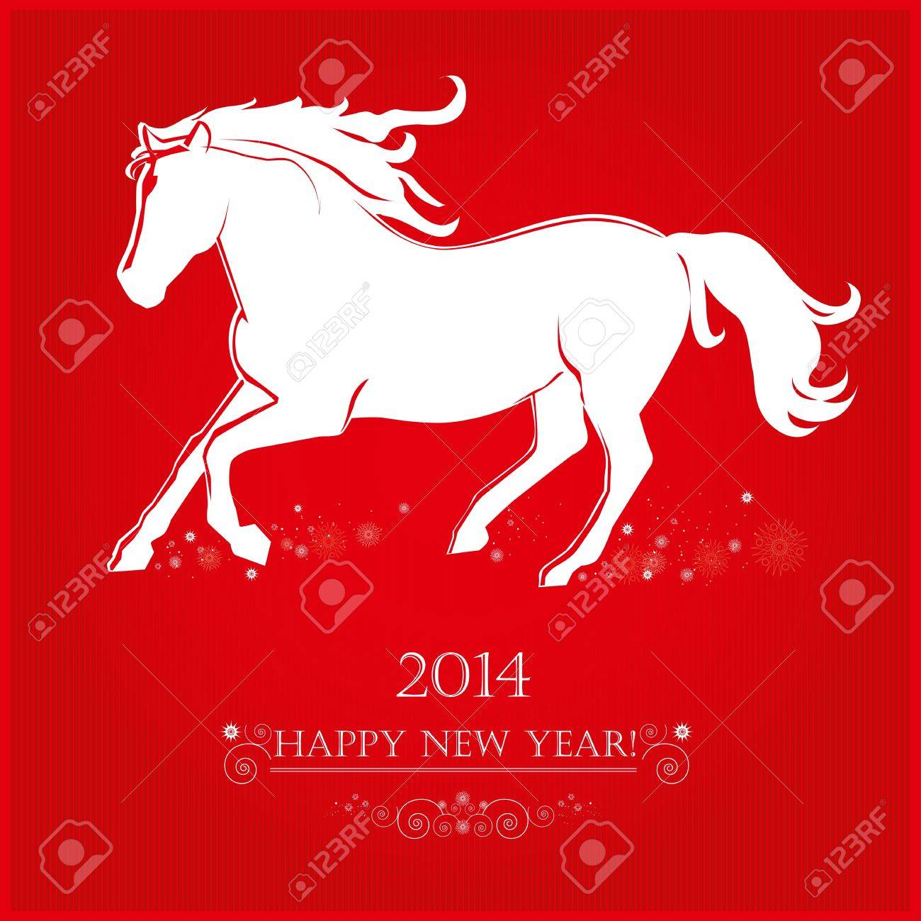 Running Horse on bright red background  Merry Christmas and Happy new year  Greeting card Stock Vector - 22164260