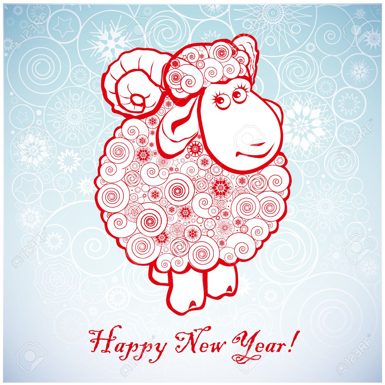 funny sheep on white background of snowflakes merry christmas and happy new year greeting