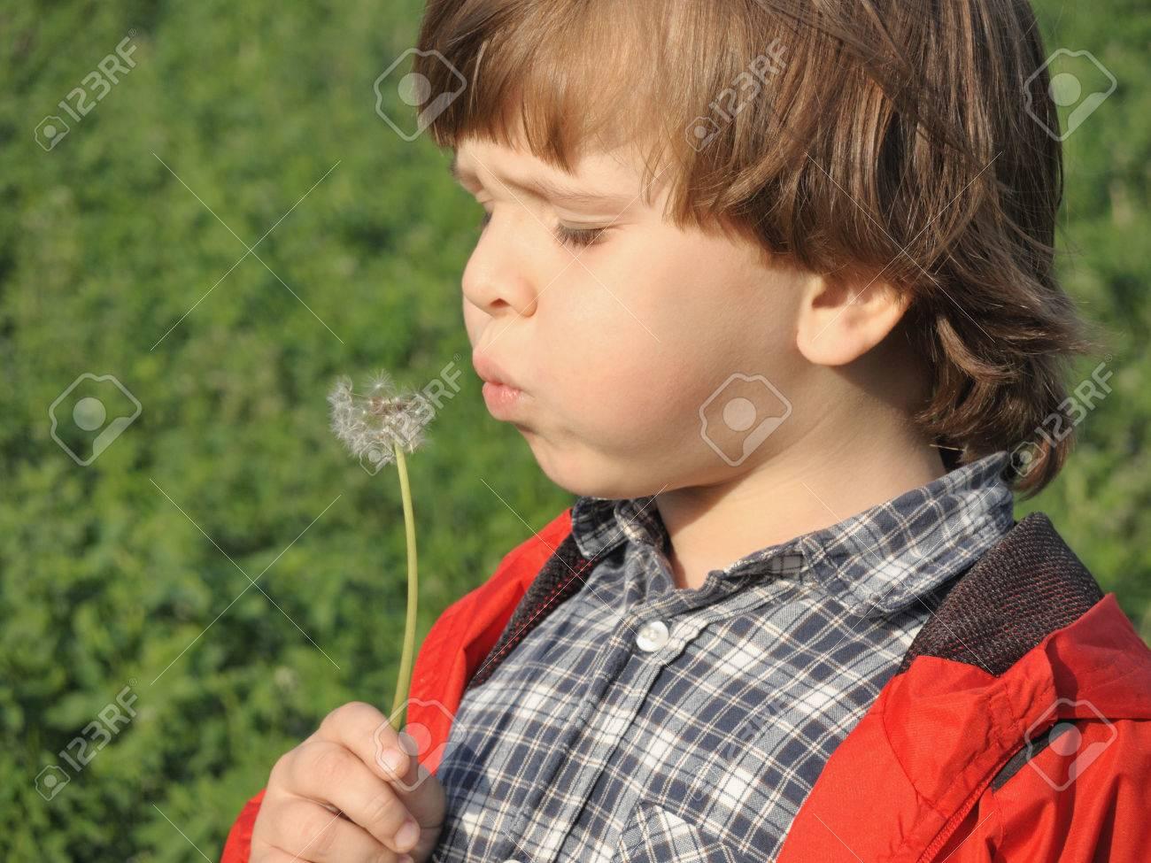 Beautiful little boy blowing dandelion. Happiness, fashionable concept. - 43075951