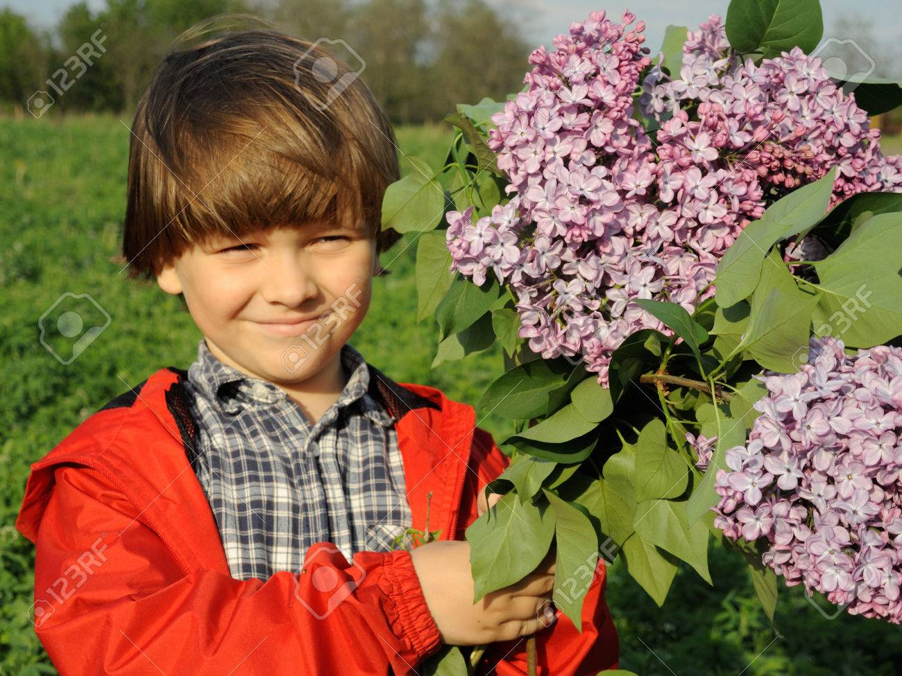 Portrait of a smiling young boy standing in the forest field meadow with lilac purple flowers in his hands. Happiness, fashionable concept. Lifestyle. Happy child with bouquet of flowers. Mothers day concept. - 43075983