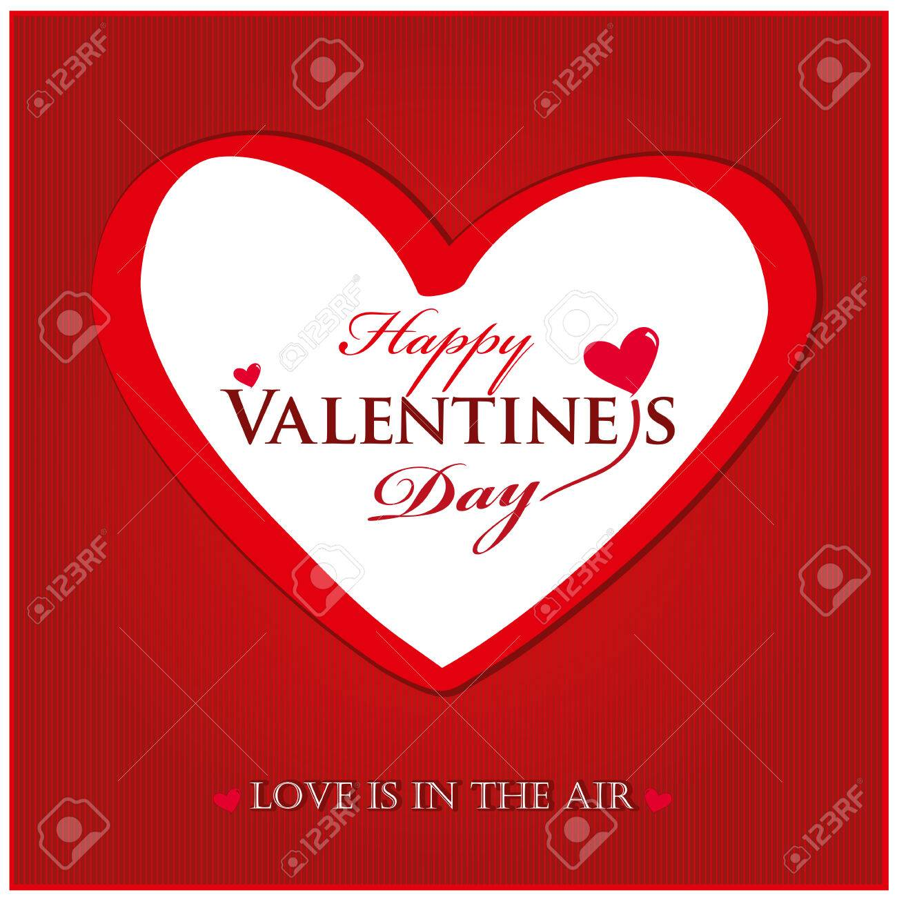 Valentines day card with heart on bright red background. Vector Lettering design. I love you. Love is in the air. - 70383357