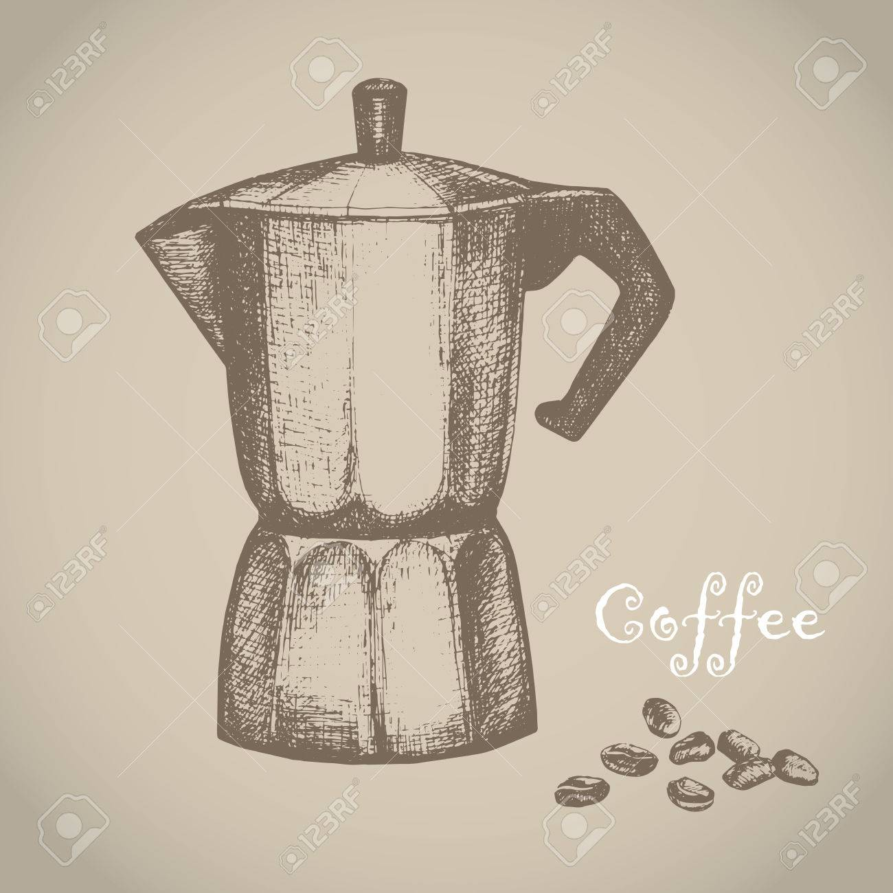The black ink drawing of coffee maker isolated on white background. Vector illustration. Hand-drawn sketch style. Kitchen utensils sketch. - 70972344