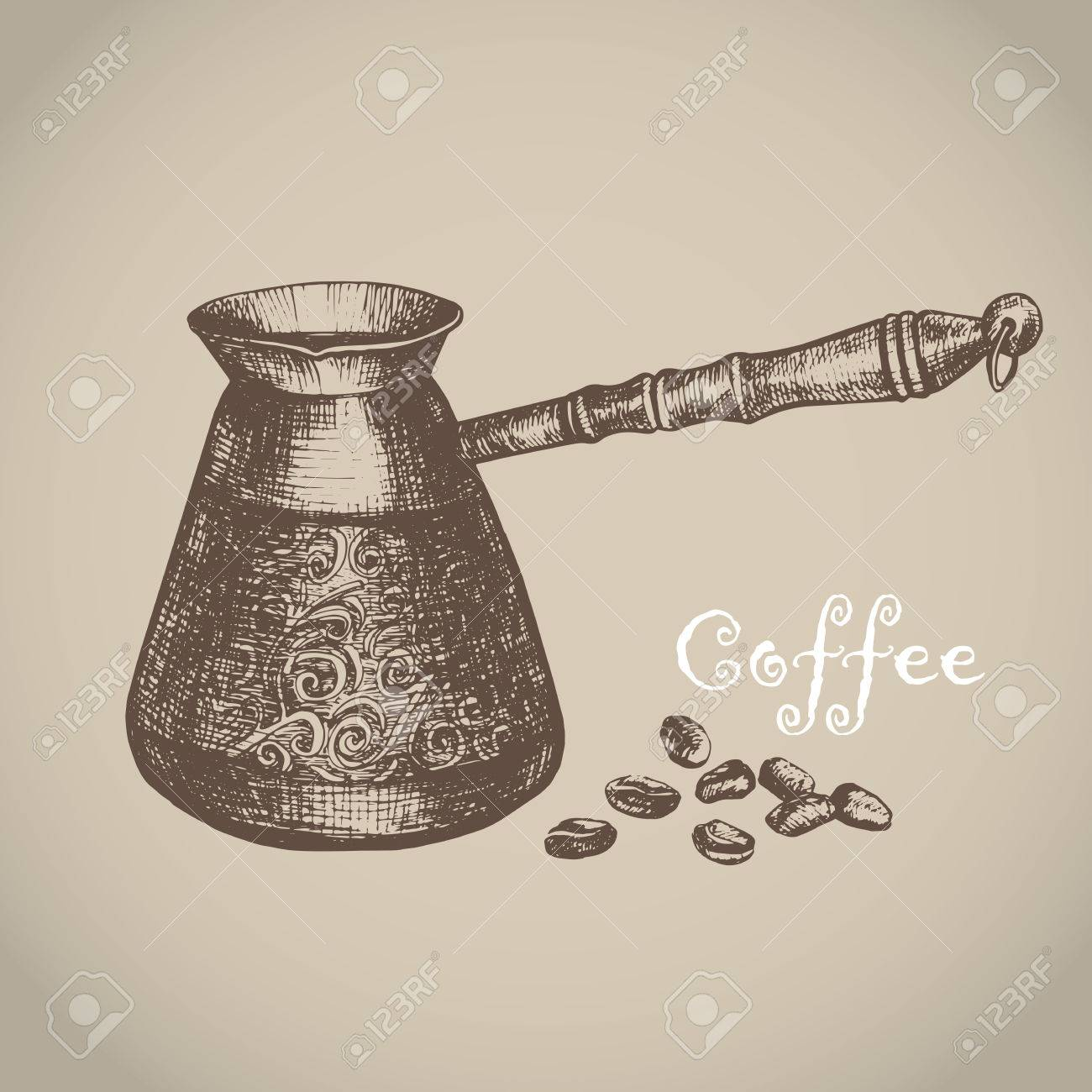 Vector illustration with sketch turkish coffee pot. Sketch of kitchen utensils in vintage style. Vector illustration. Hand drawn sketch. - 71188924