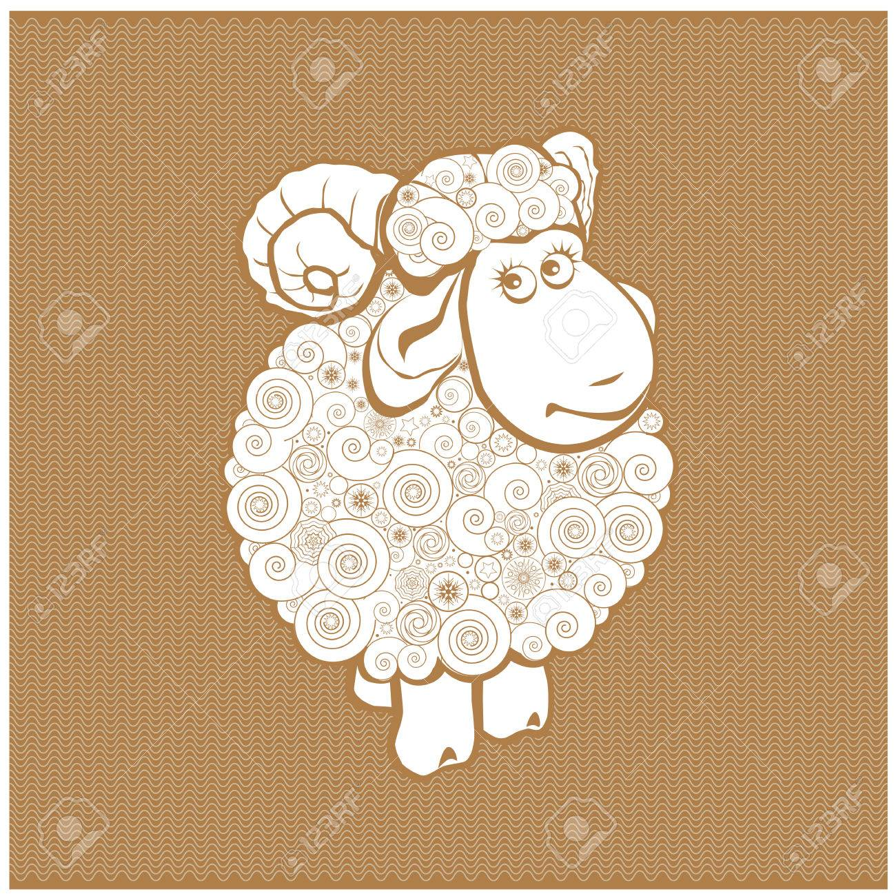 Funny sheep line icon, linear pictogram isolated on white background. Silhouette of the sheep. Sheep on a background of wool. - 71345636