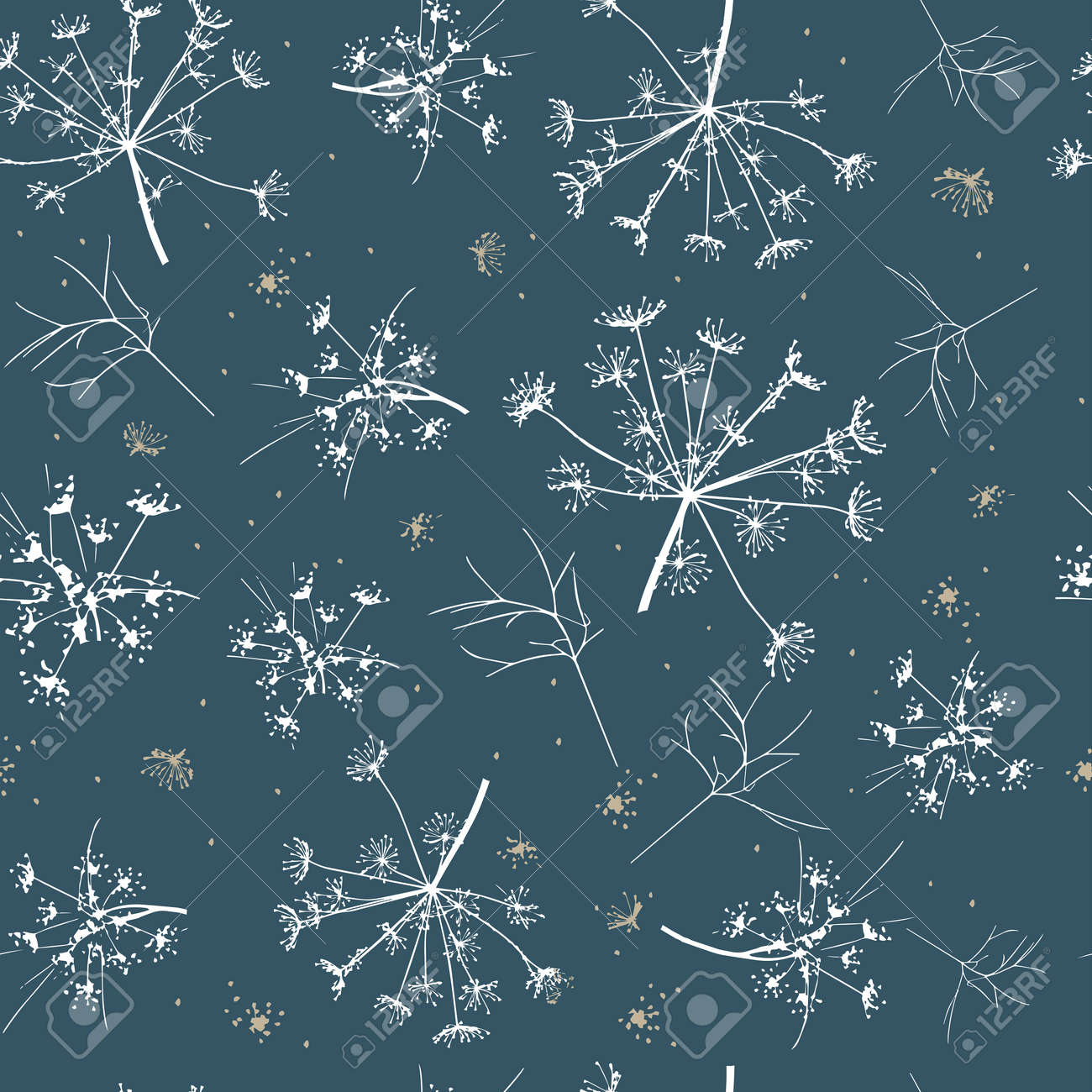 Abstract seamless pattern with white delicate dill on a dark background. Vector drawing of a sprig of dill. Manual work. Great idea for postcard, calendar, holiday invitation, wrapping paper. - 164059966