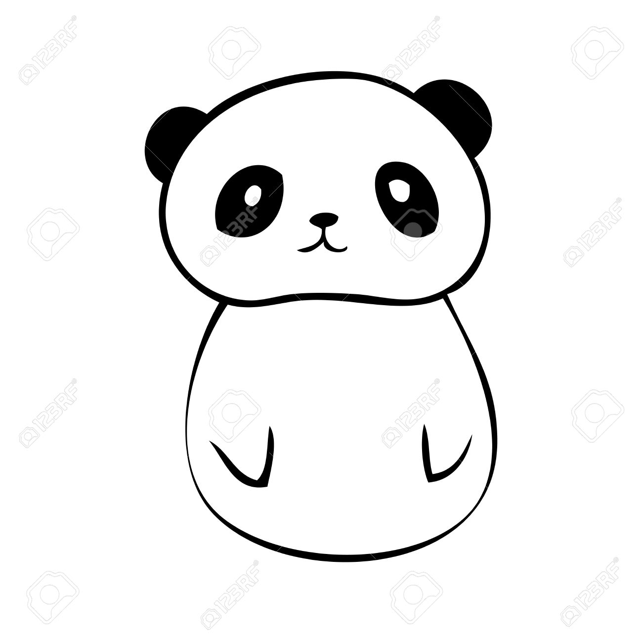 Vector Tail Panda Icon Little Black On White Background