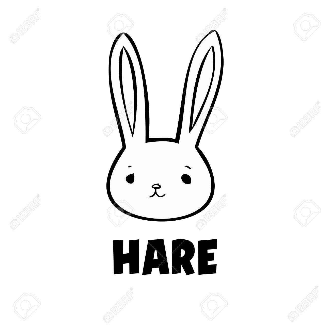 Vector Black Hare Icon Little Rabbit On White Background