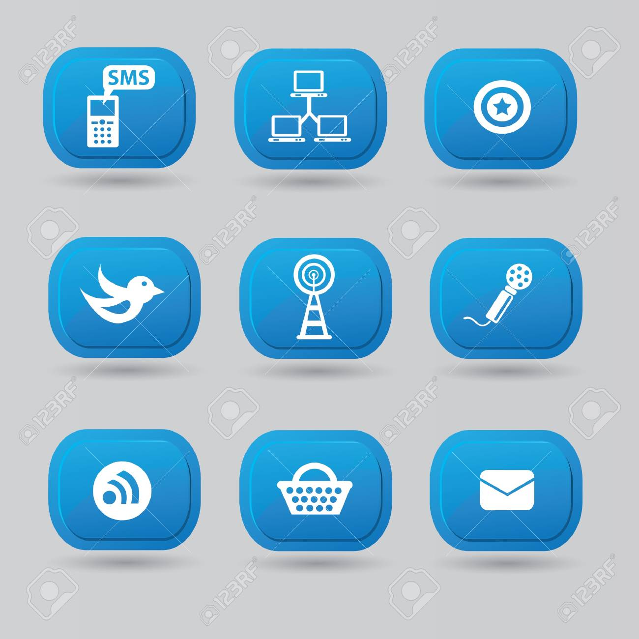 Social media,icon set Stock Vector - 18781536