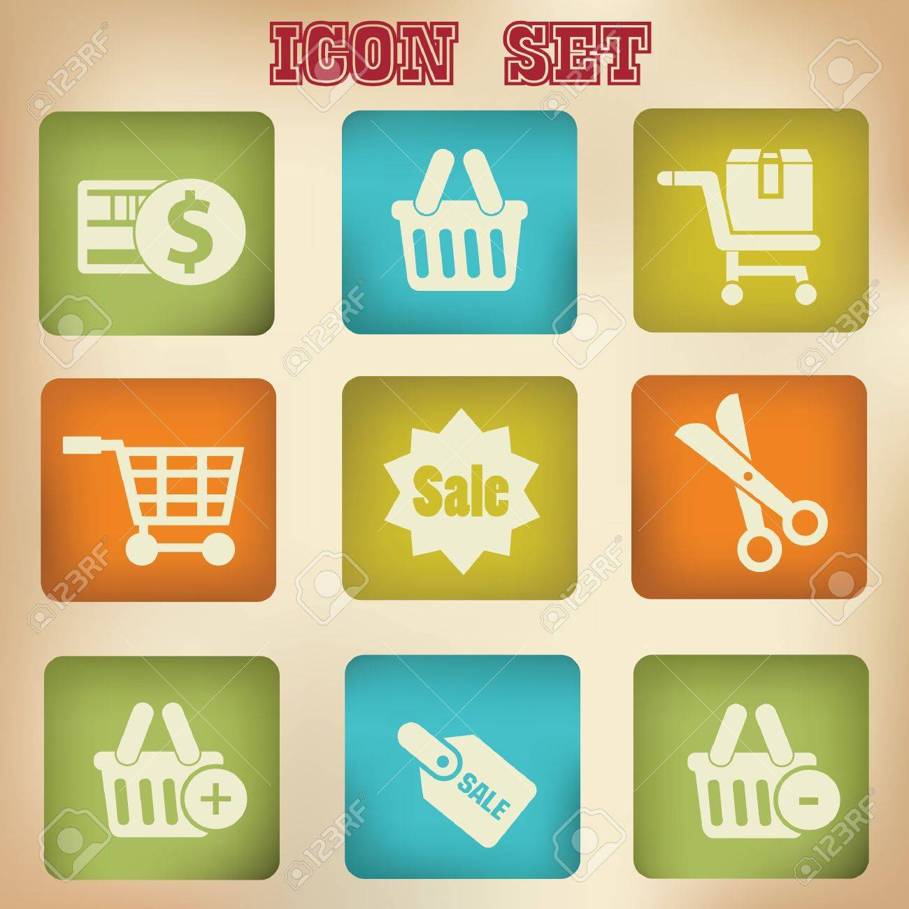 Shopping vintage icons Stock Vector - 19771210
