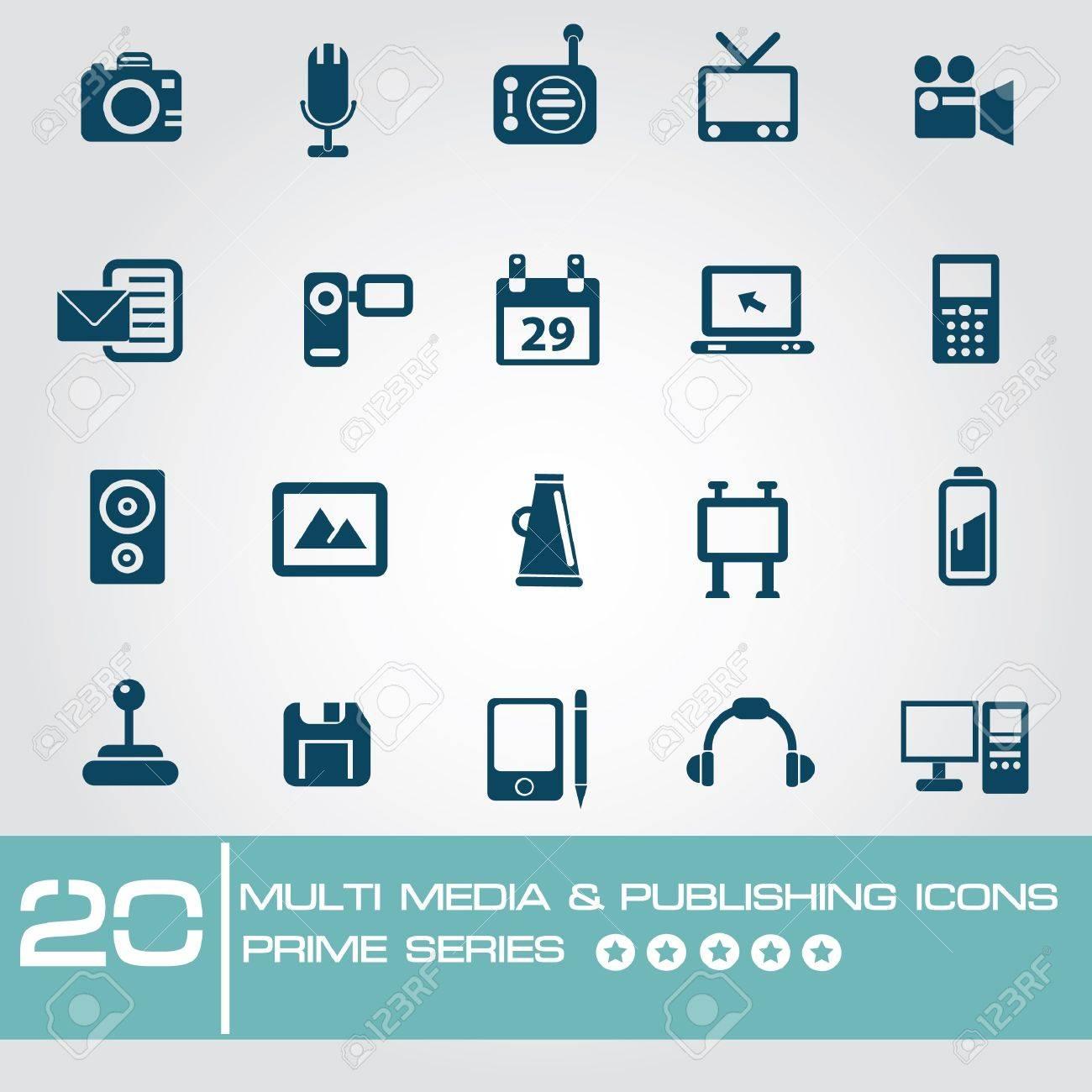 Multi media   Publishing icons,Prime series Stock Vector - 19770745