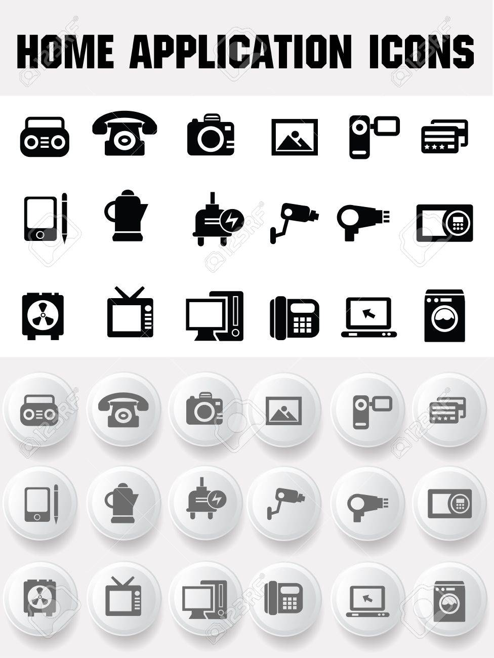Home application icons Stock Vector - 19908268