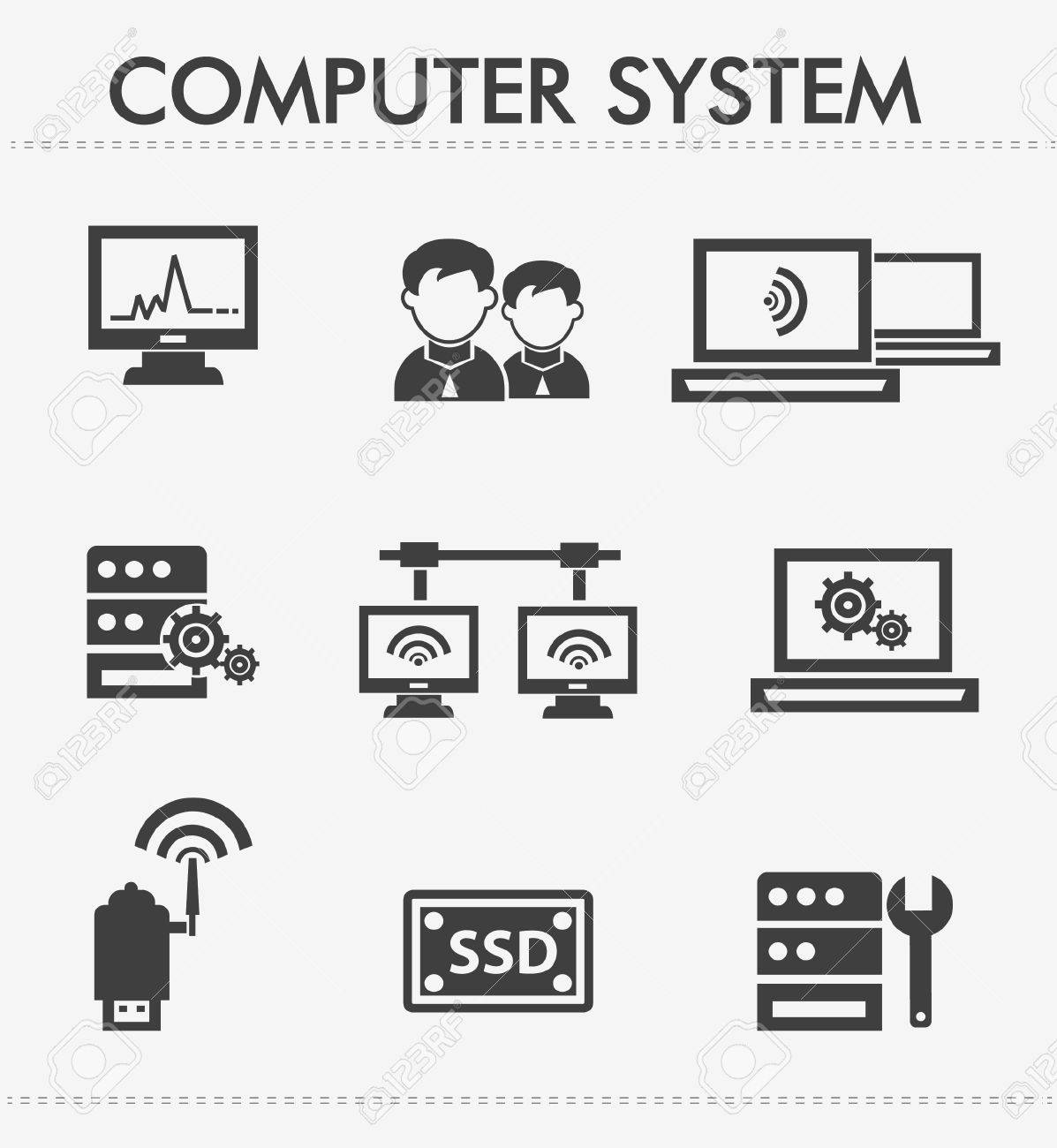 Computer system icons Stock Vector - 19973072