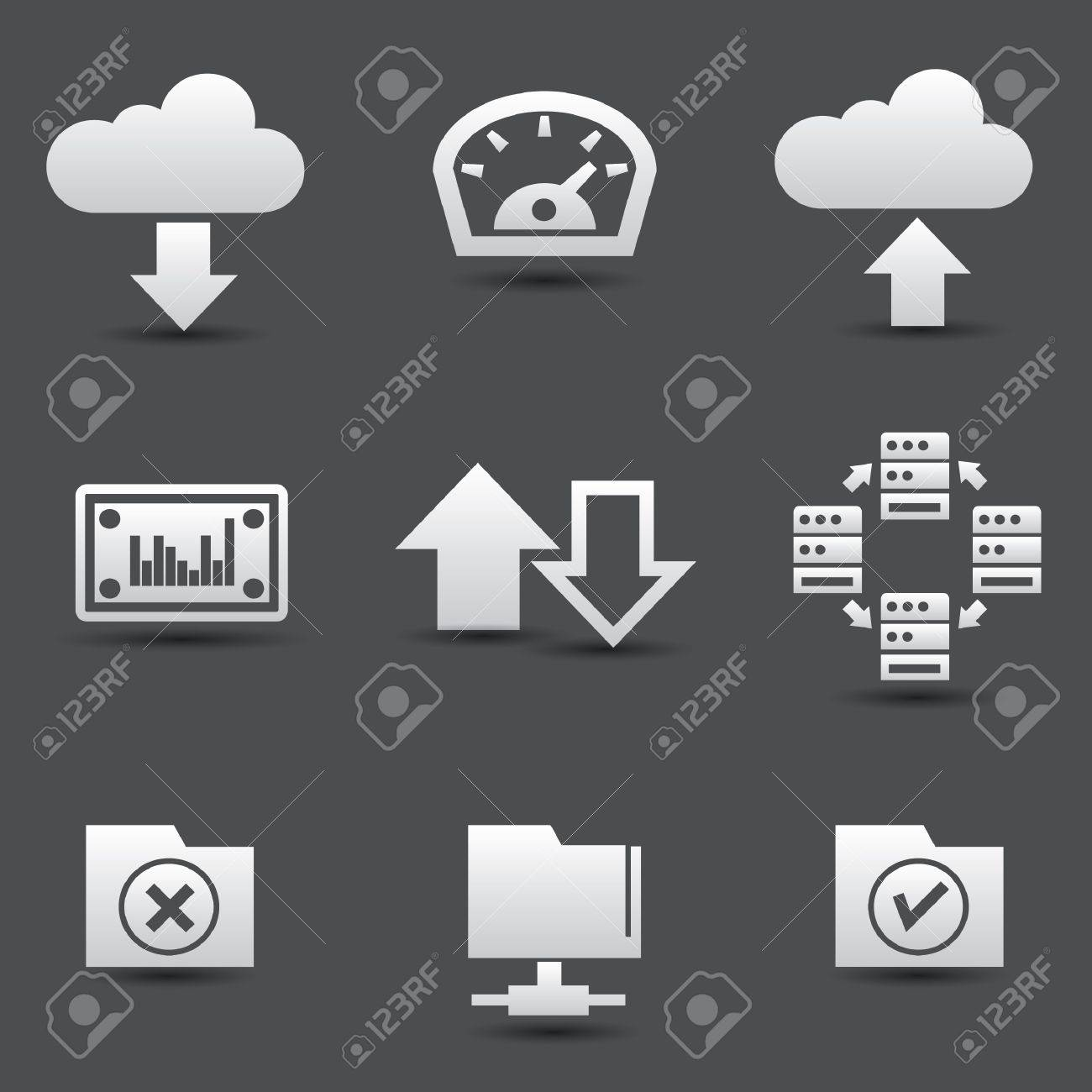 Sharing computer and data store icons Stock Vector - 19973046