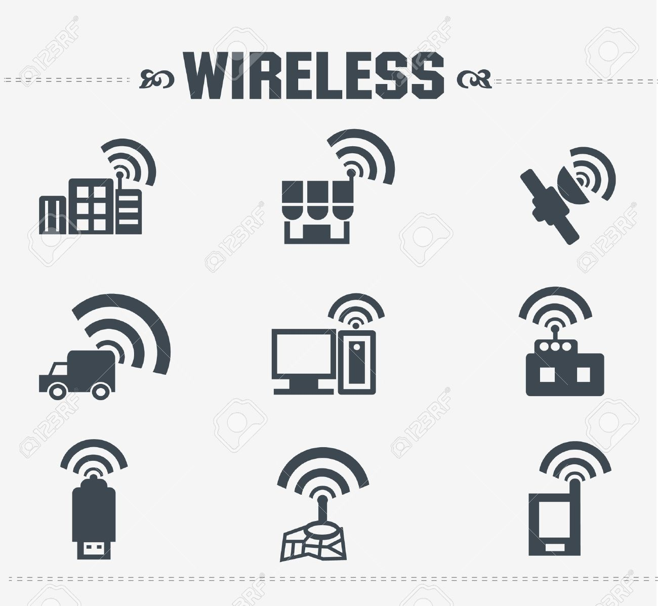 Wireless Communication Icon Set Royalty Free Cliparts, Vectors, And ...