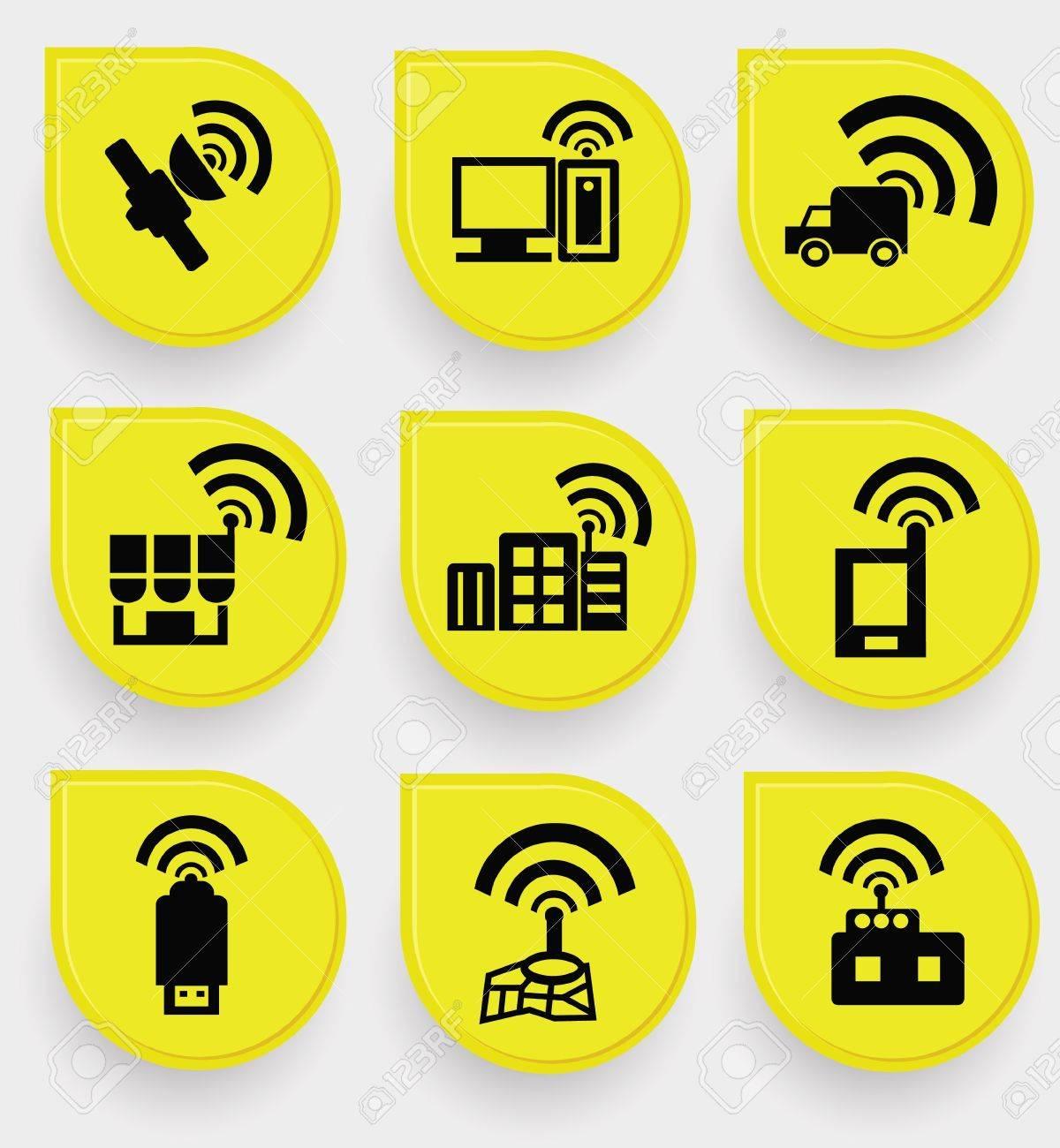 Wireless   communication icon set Stock Vector - 19973074