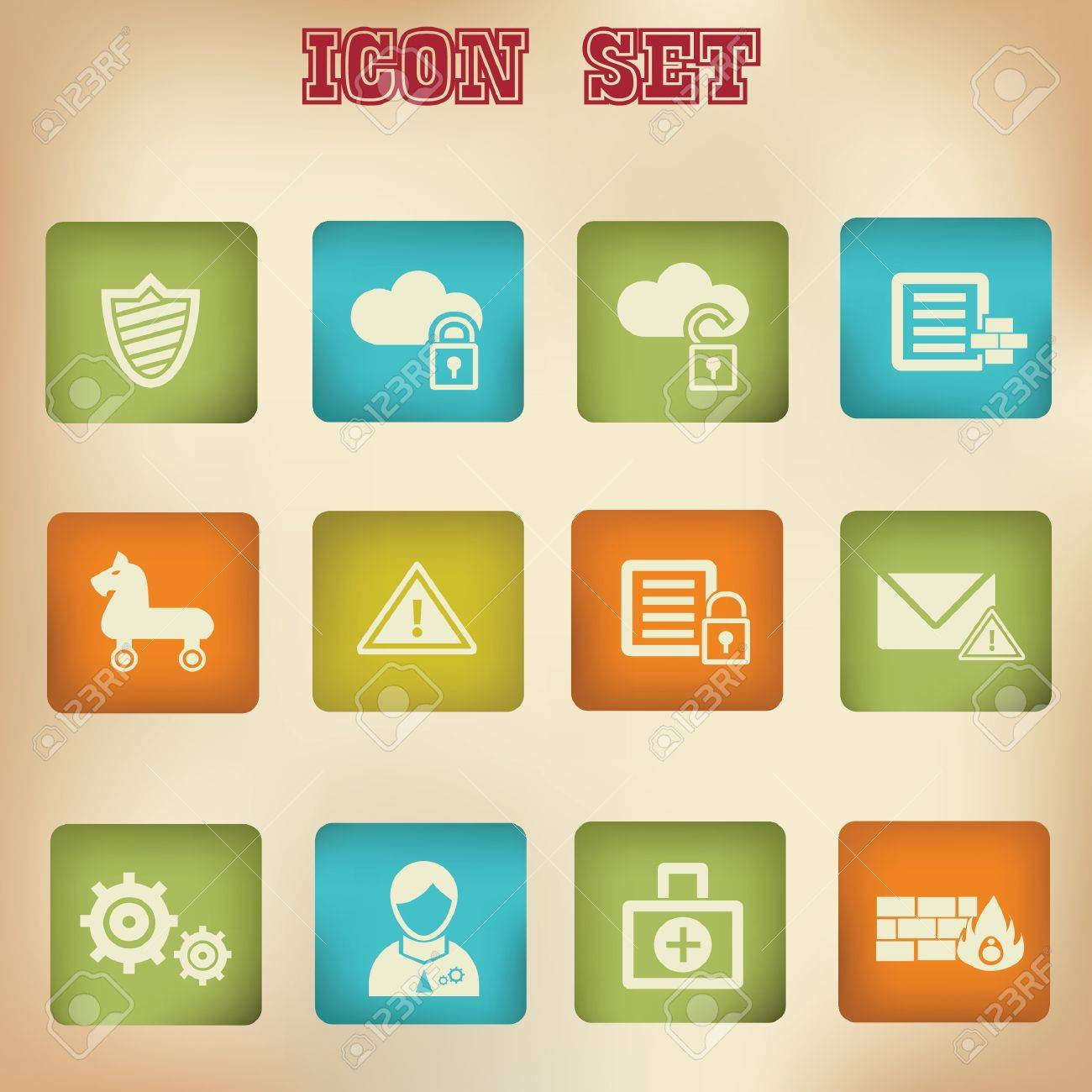 Virus security vintage icons Stock Vector - 20168812