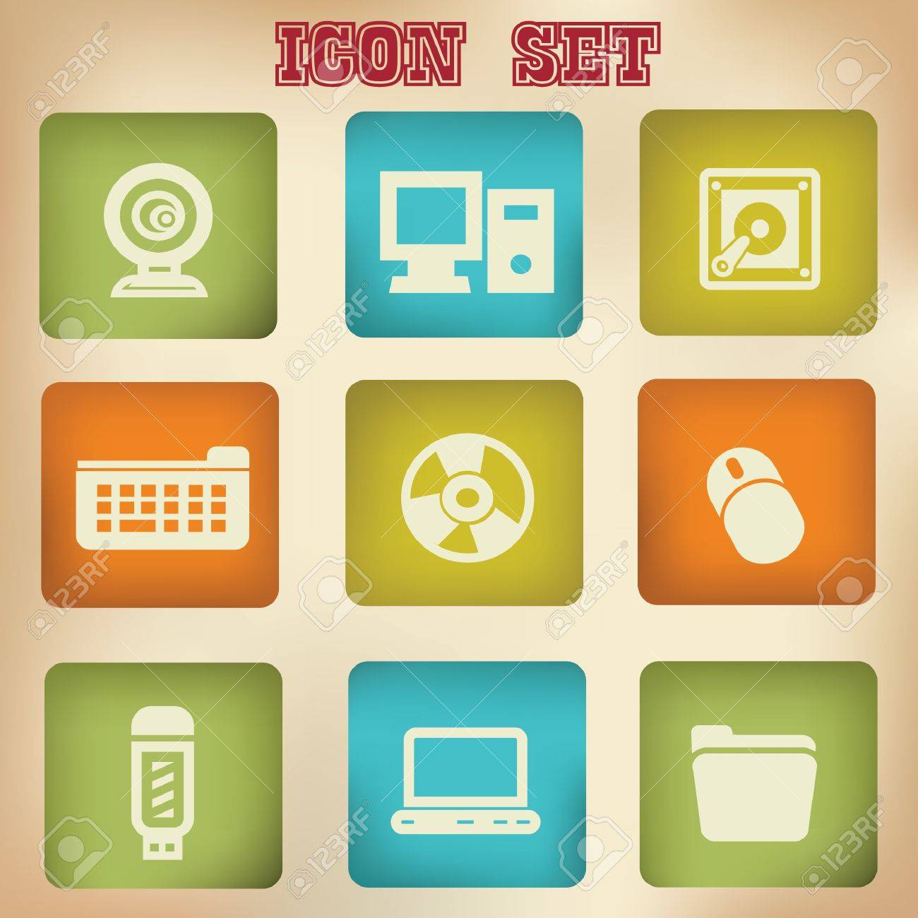 Computer vintage icons Stock Vector - 20447329