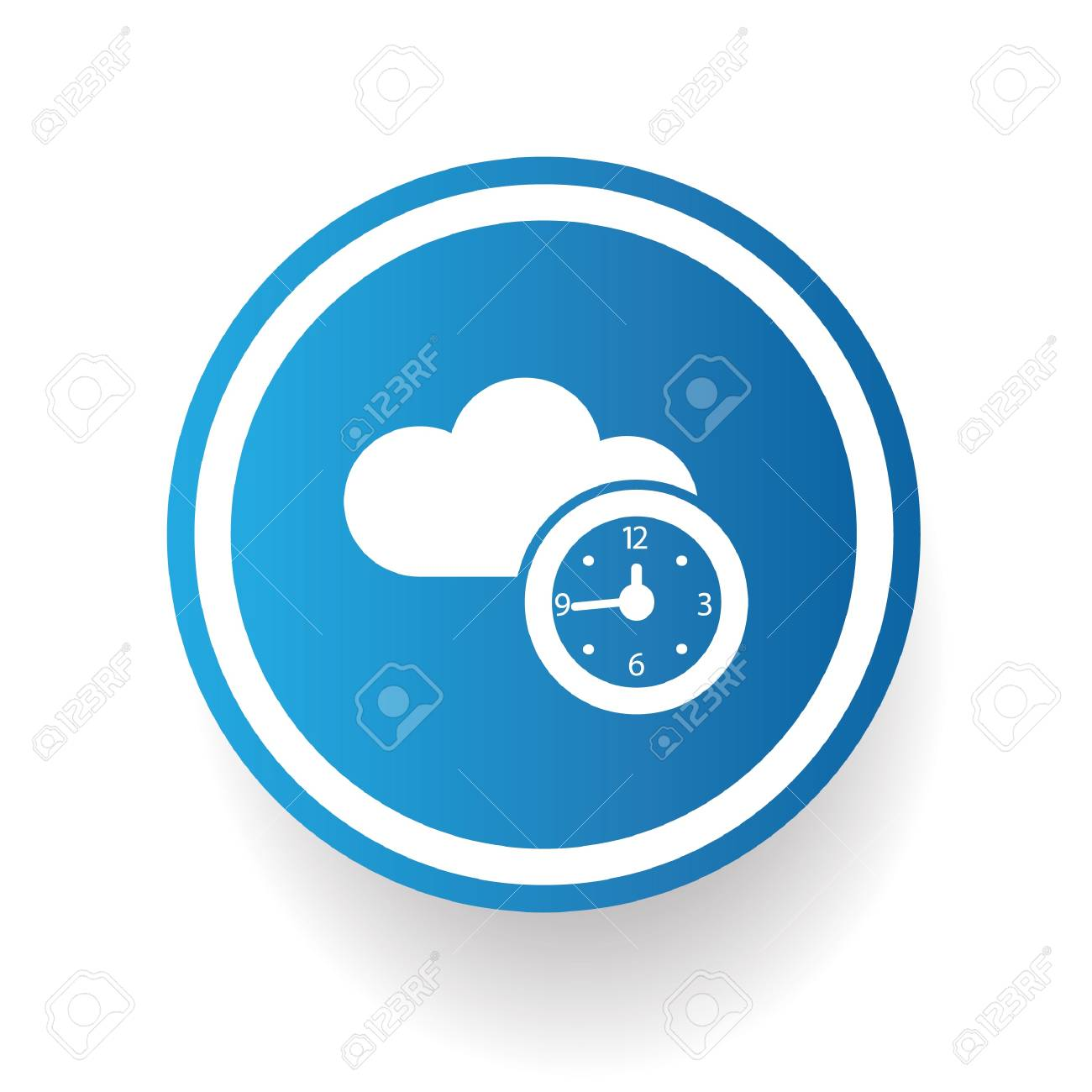 Time symbol on blue button Stock Vector - 20438096