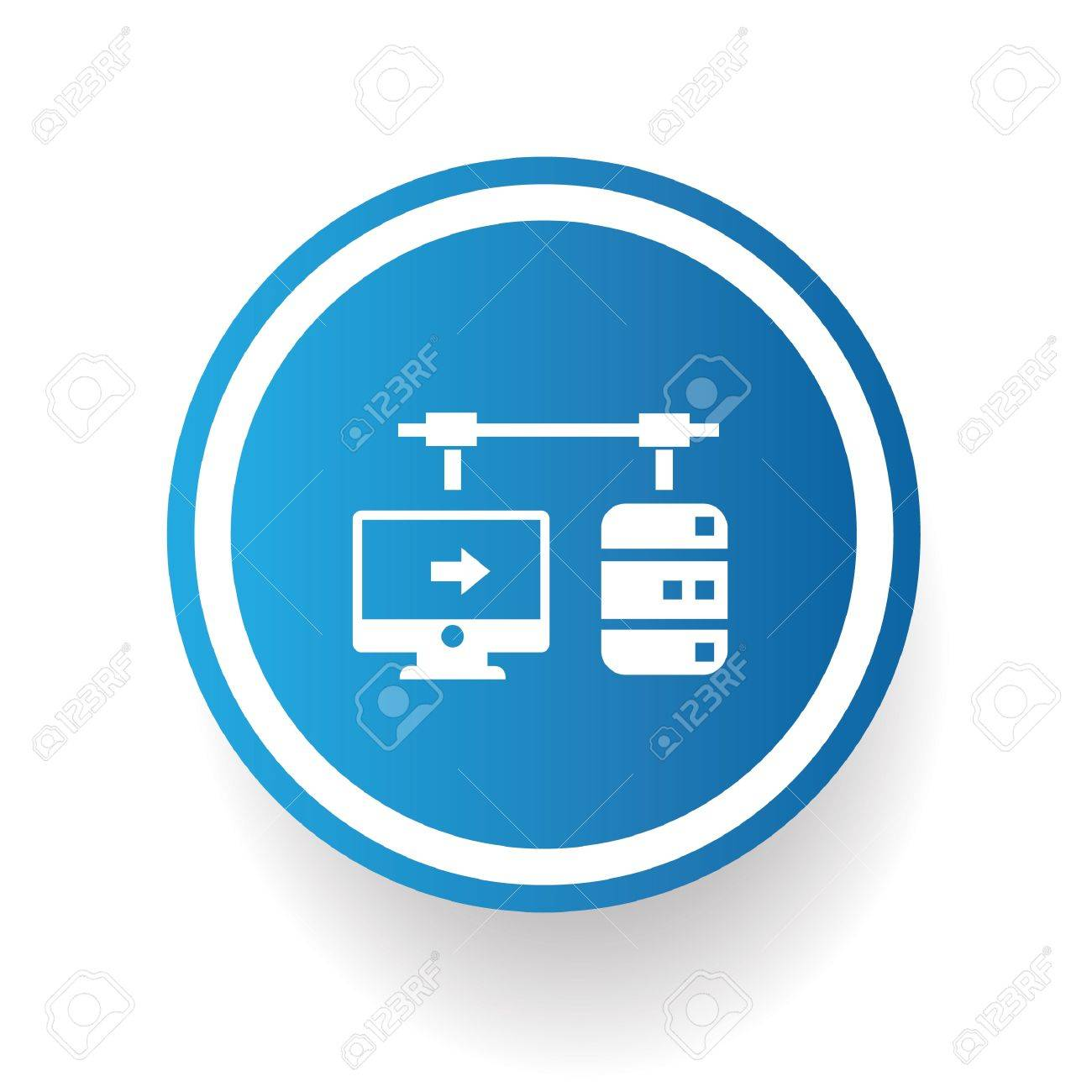 Connection data symbol on blue button Stock Vector - 20391672