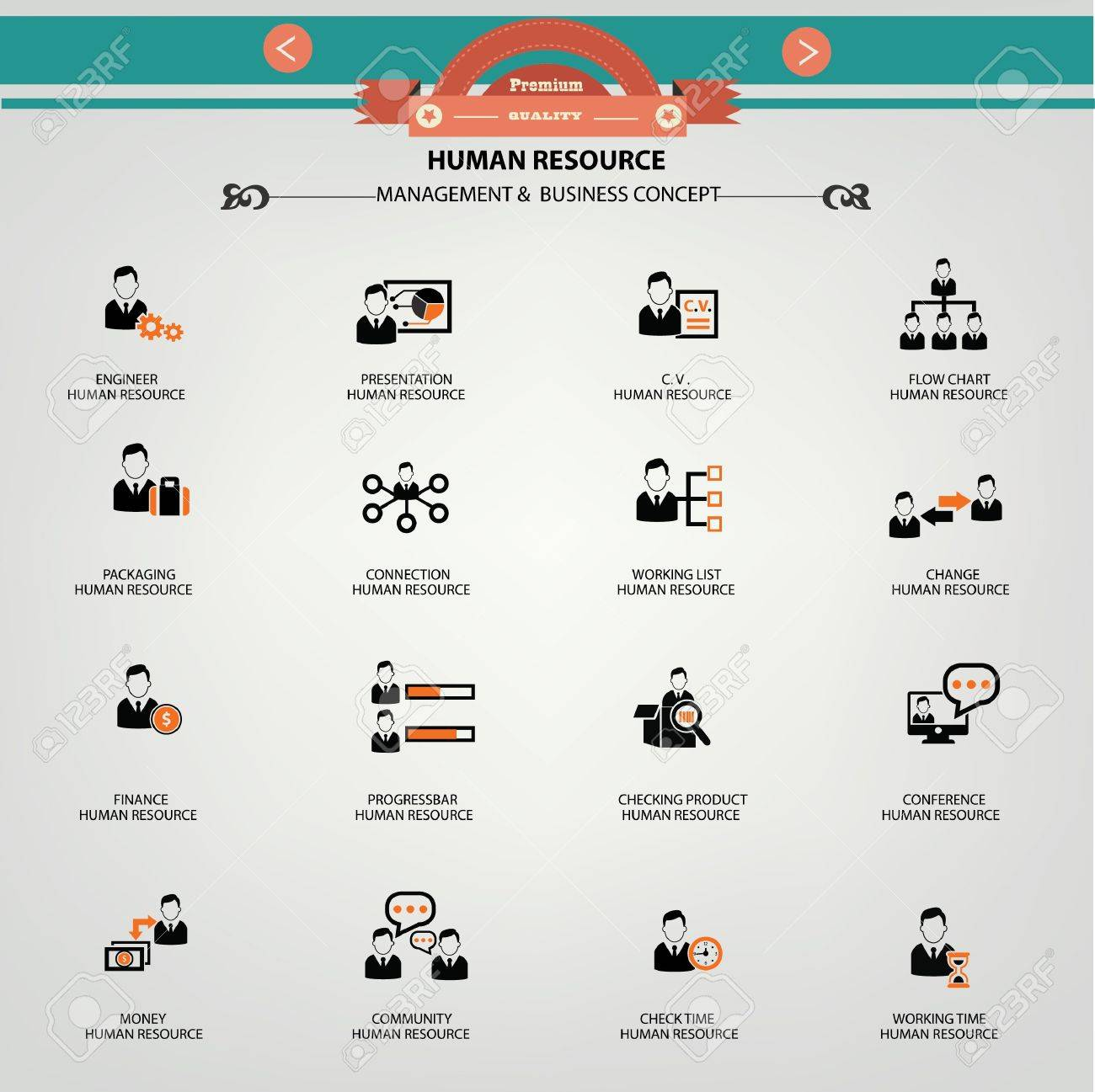 Human resource, Management   Business concept icons Stock Vector - 20391686