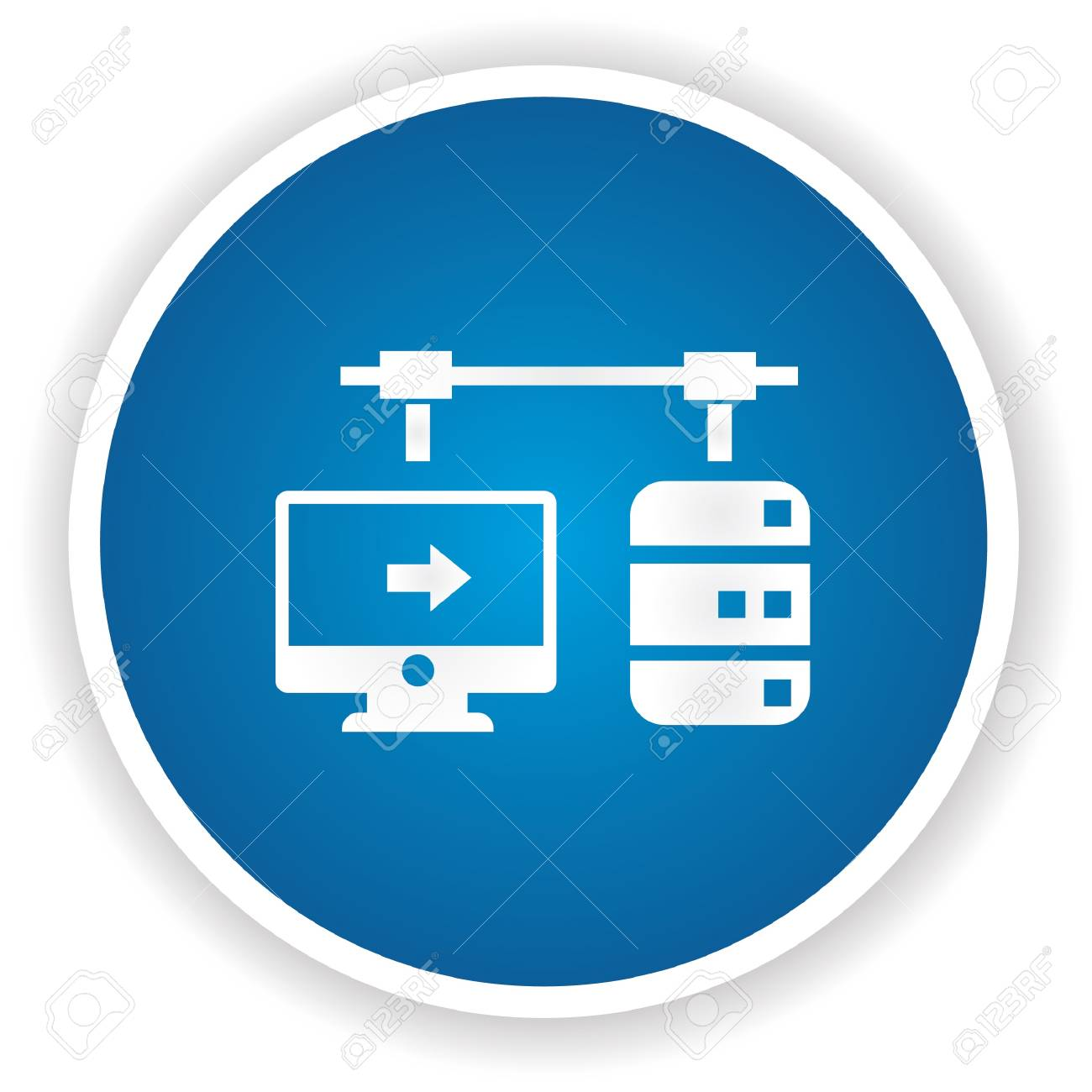 Connection data symbol on blue button Stock Vector - 20391706